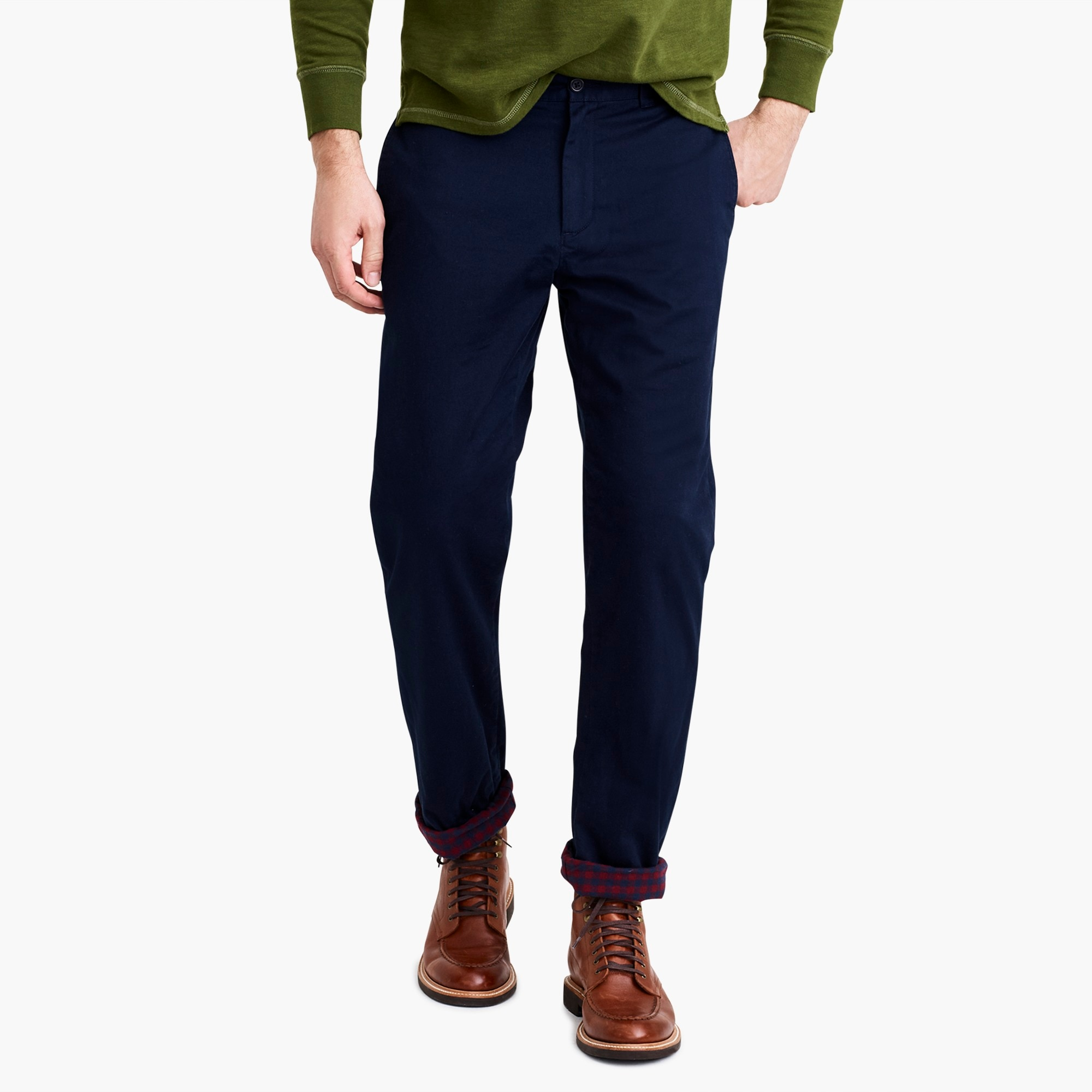 factory mens Straight-fit flannel-lined chino