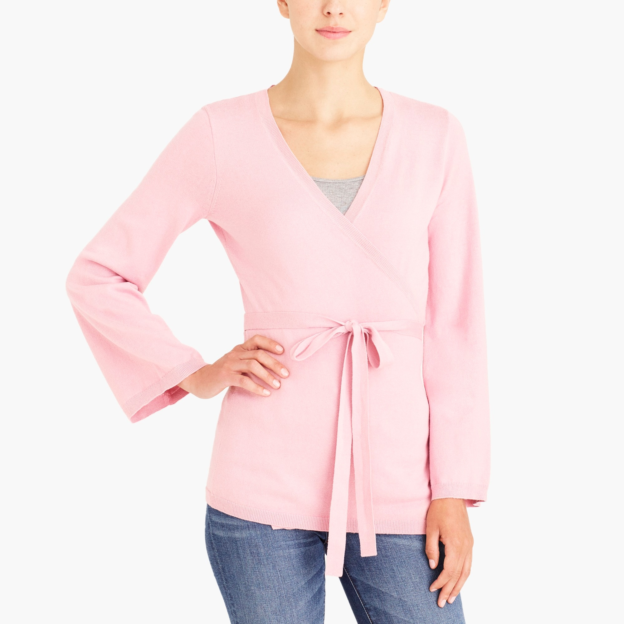 factory womens Flare-sleeve wrap cardigan sweater