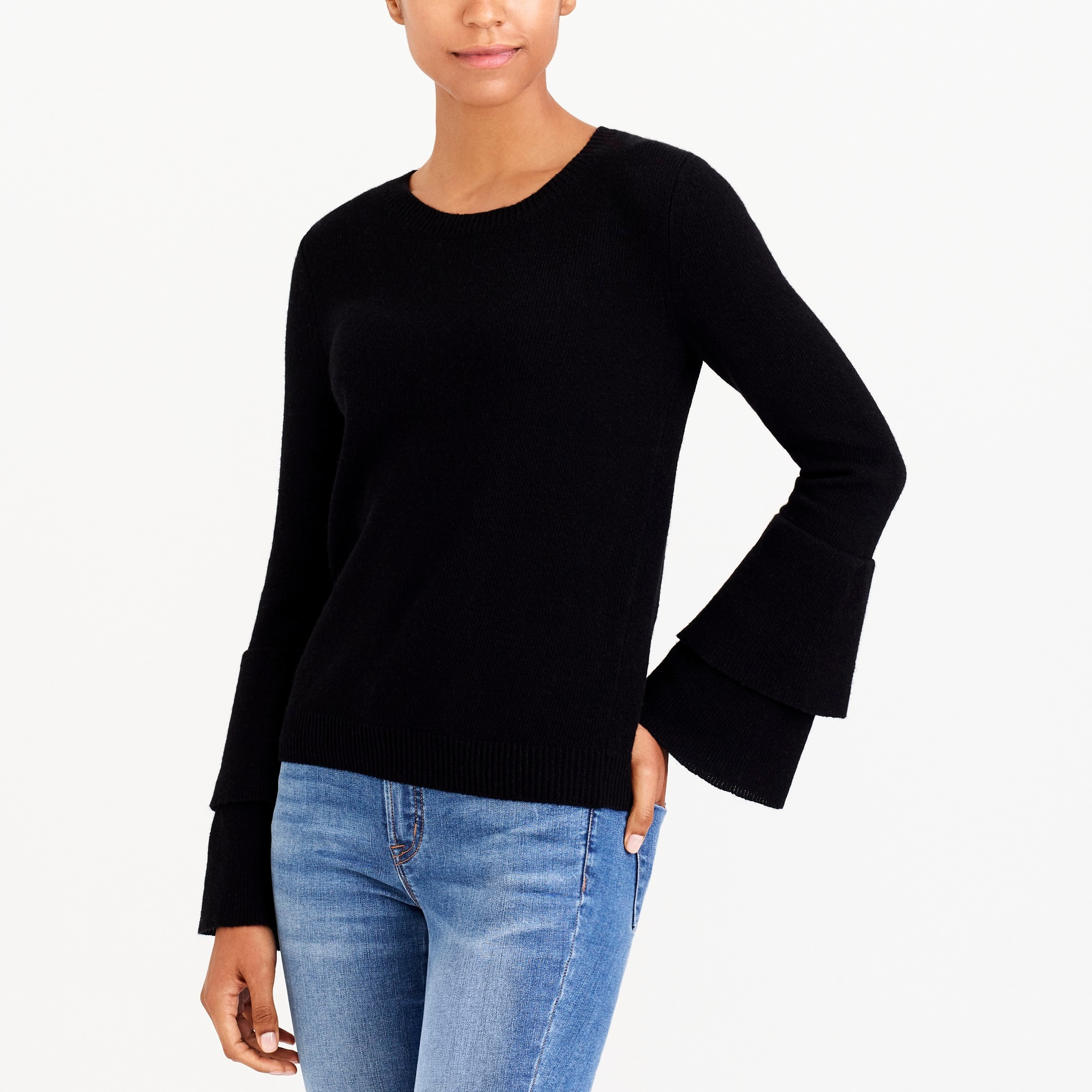 Image 1 for Ruffle-sleeve pullover sweater
