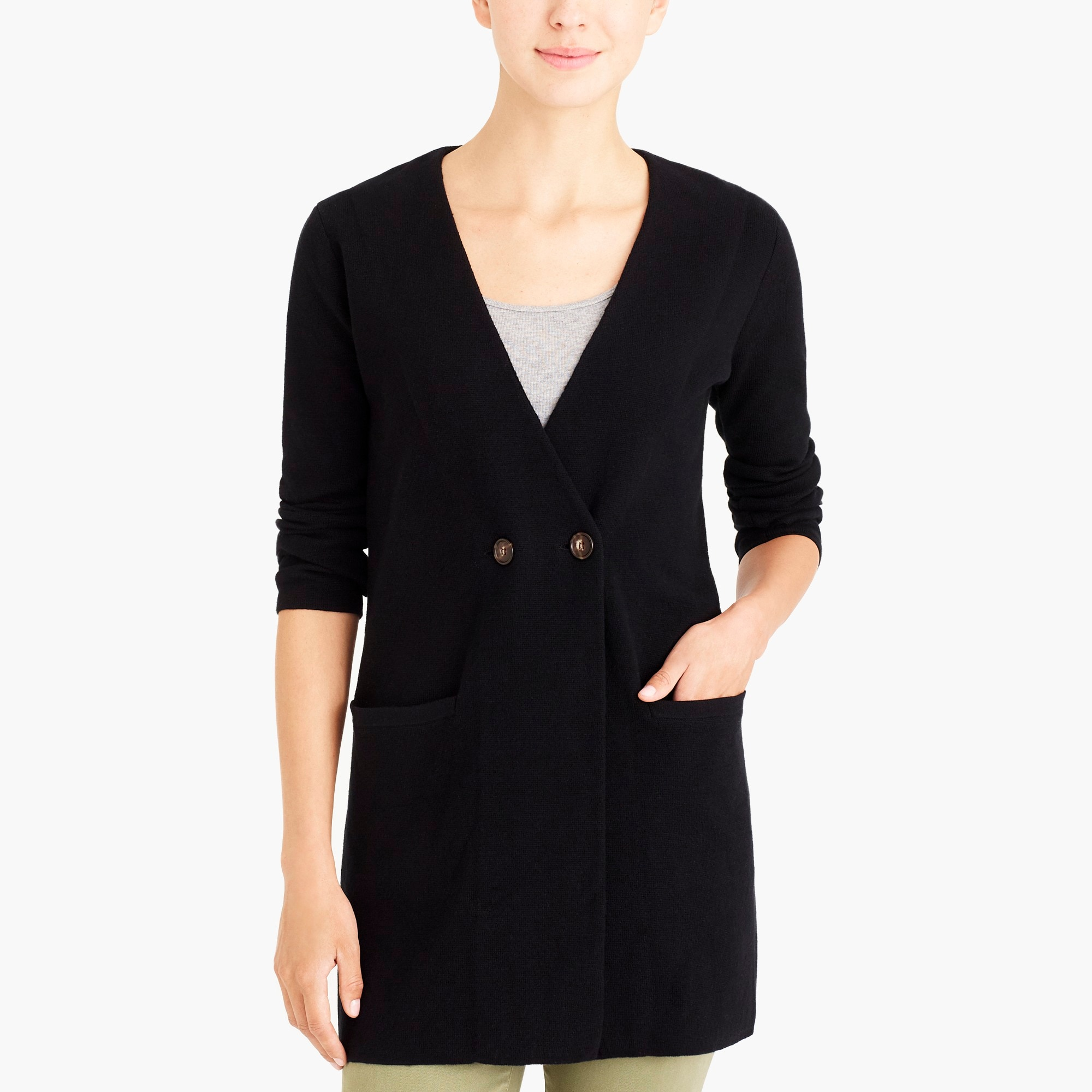factory womens Collarless sweater-blazer