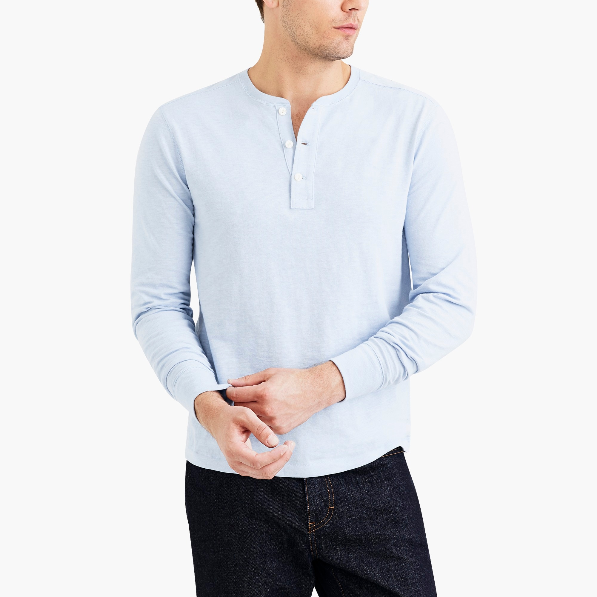 long-sleeve slub cotton henley : factorymen the score: men's pique polos