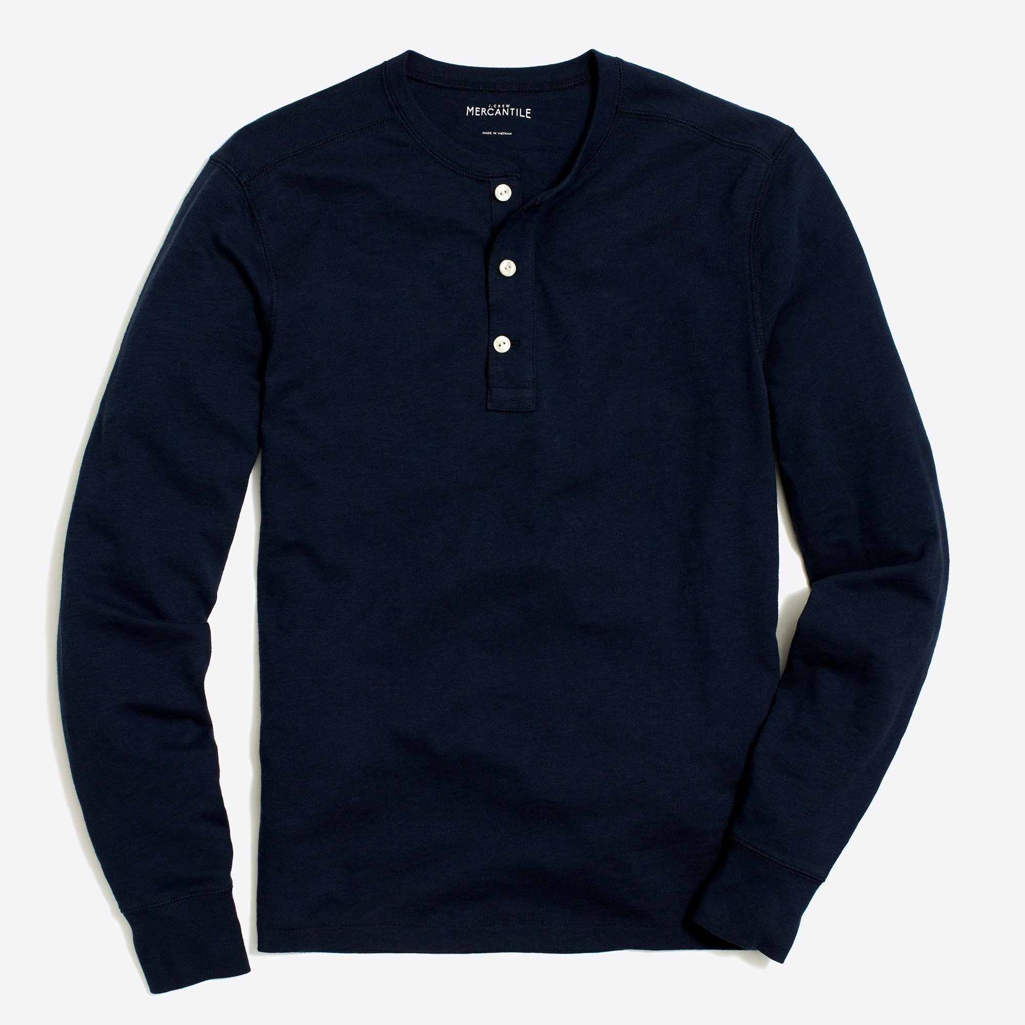factory mens Long-sleeve slub cotton henley
