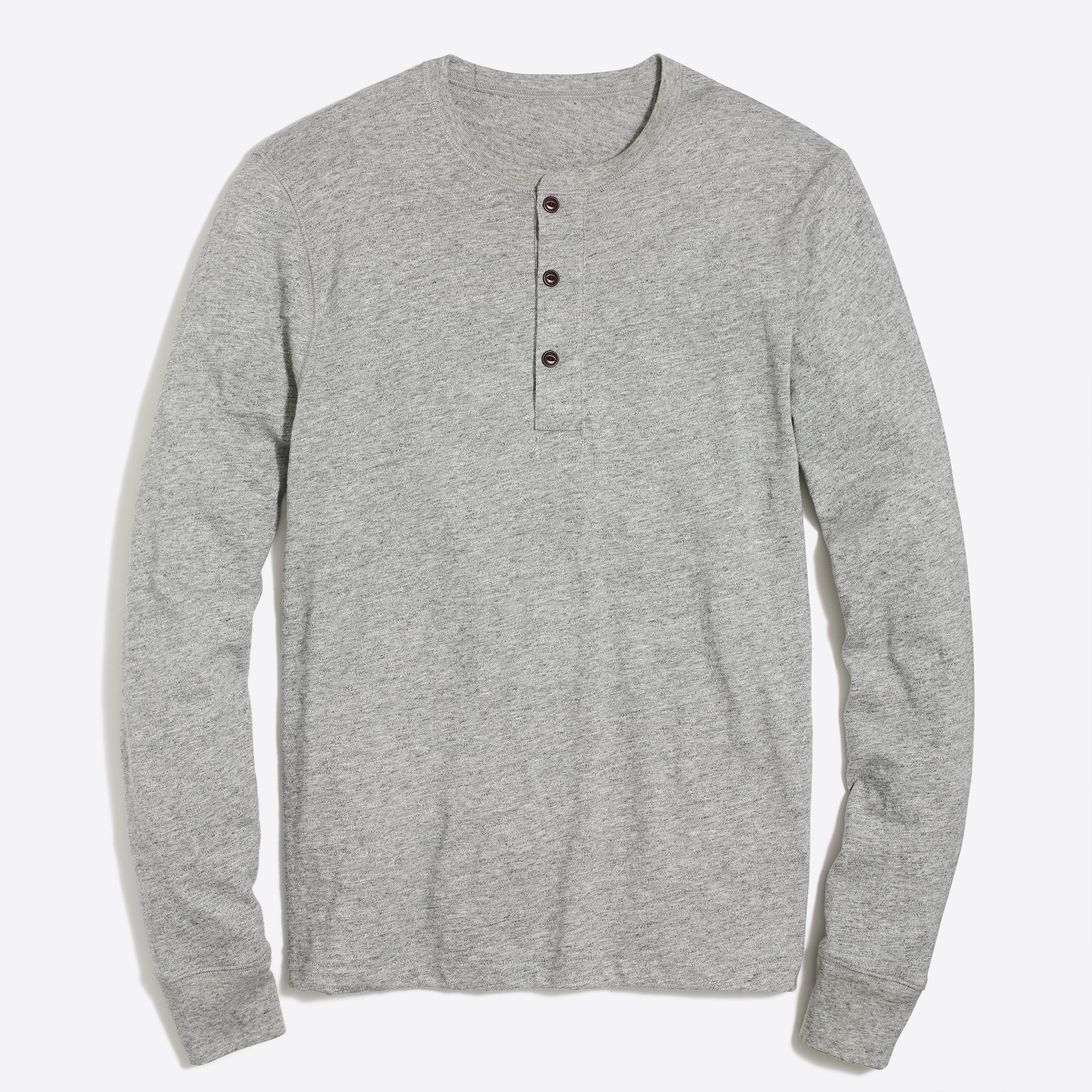 factory mens Long-sleeve slub cotton heather henley