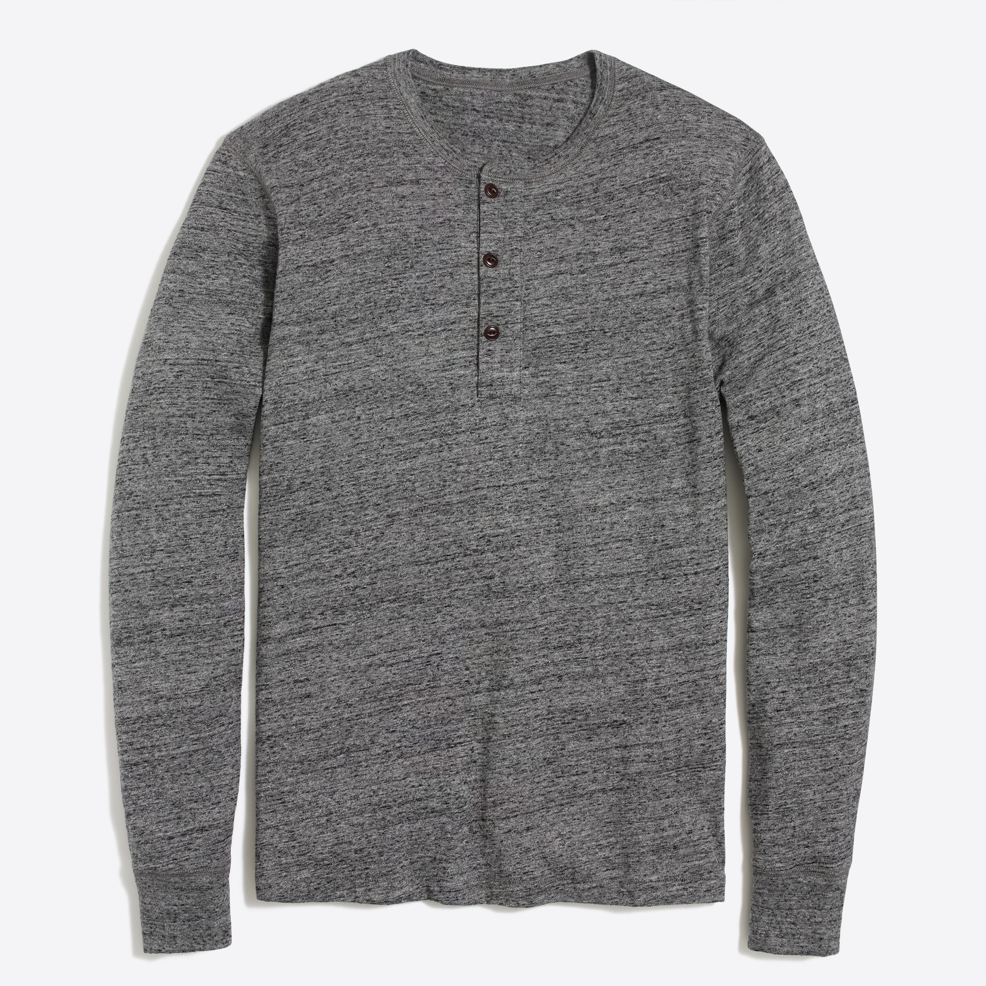 Long-sleeve slub cotton heather henley