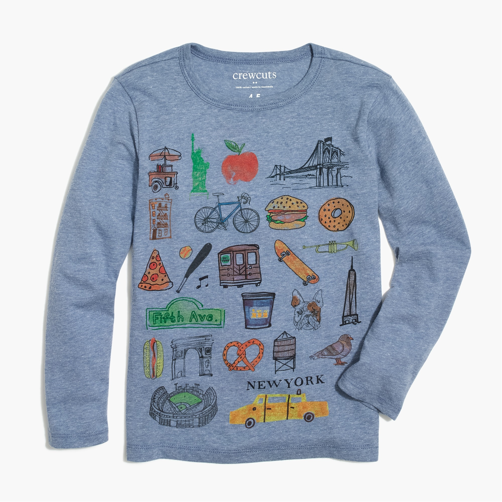 Image 1 for Boys' long-sleeve NYC postcard graphic T-shirt