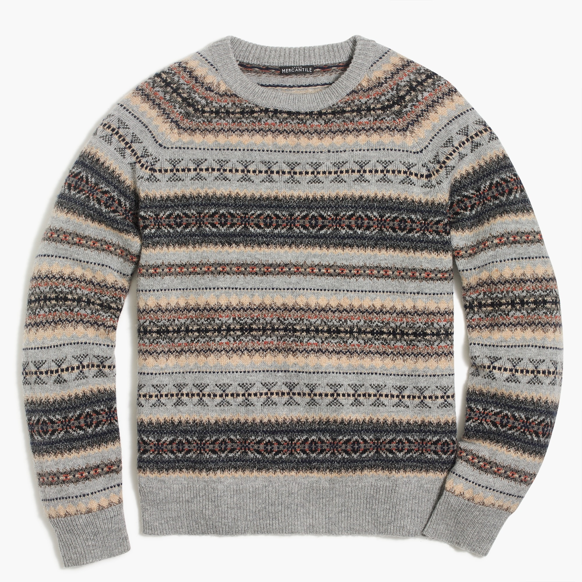 factory mens Fair isle crewneck sweater in supersoft wool blend