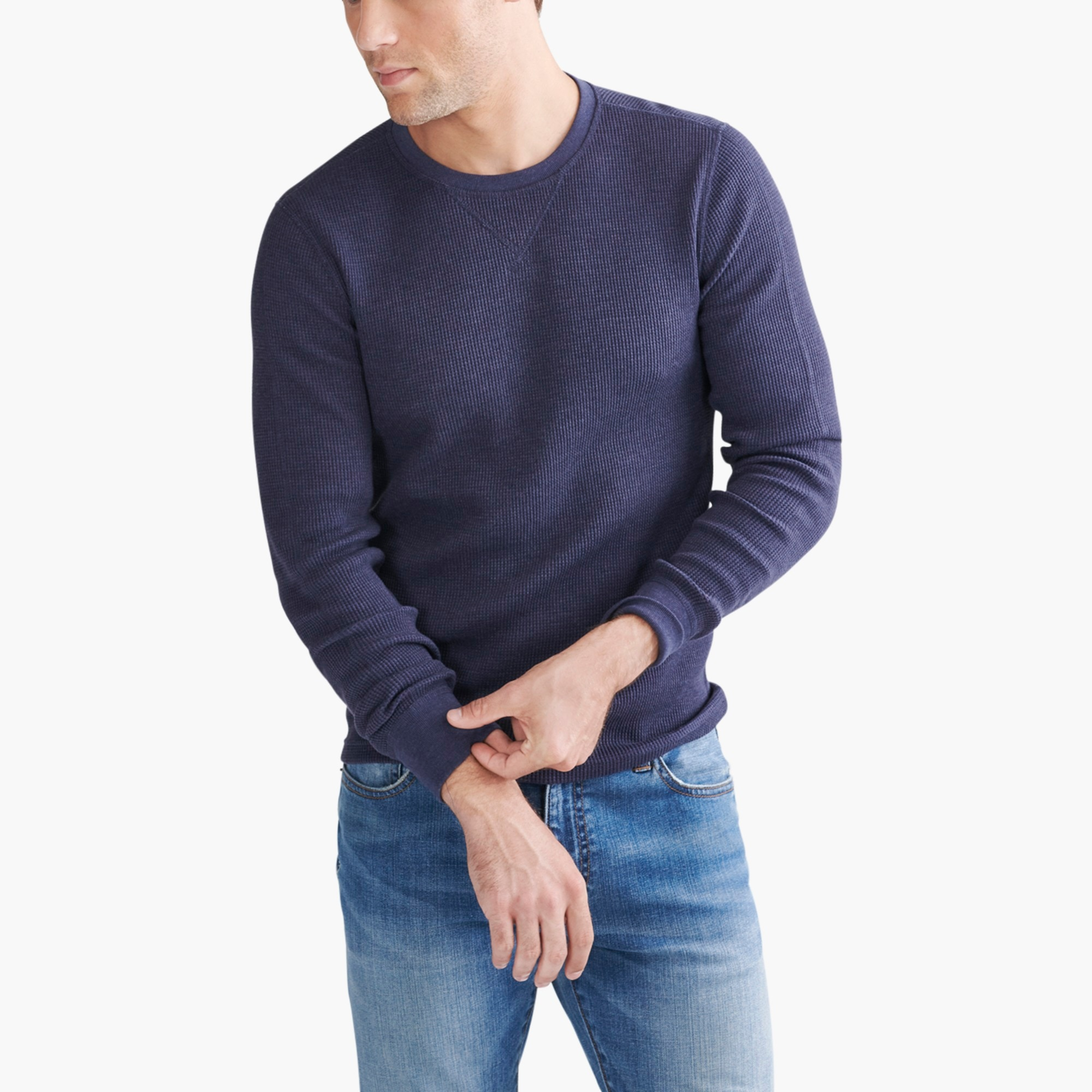 Image 1 for Heathered thermal crewneck T-shirt