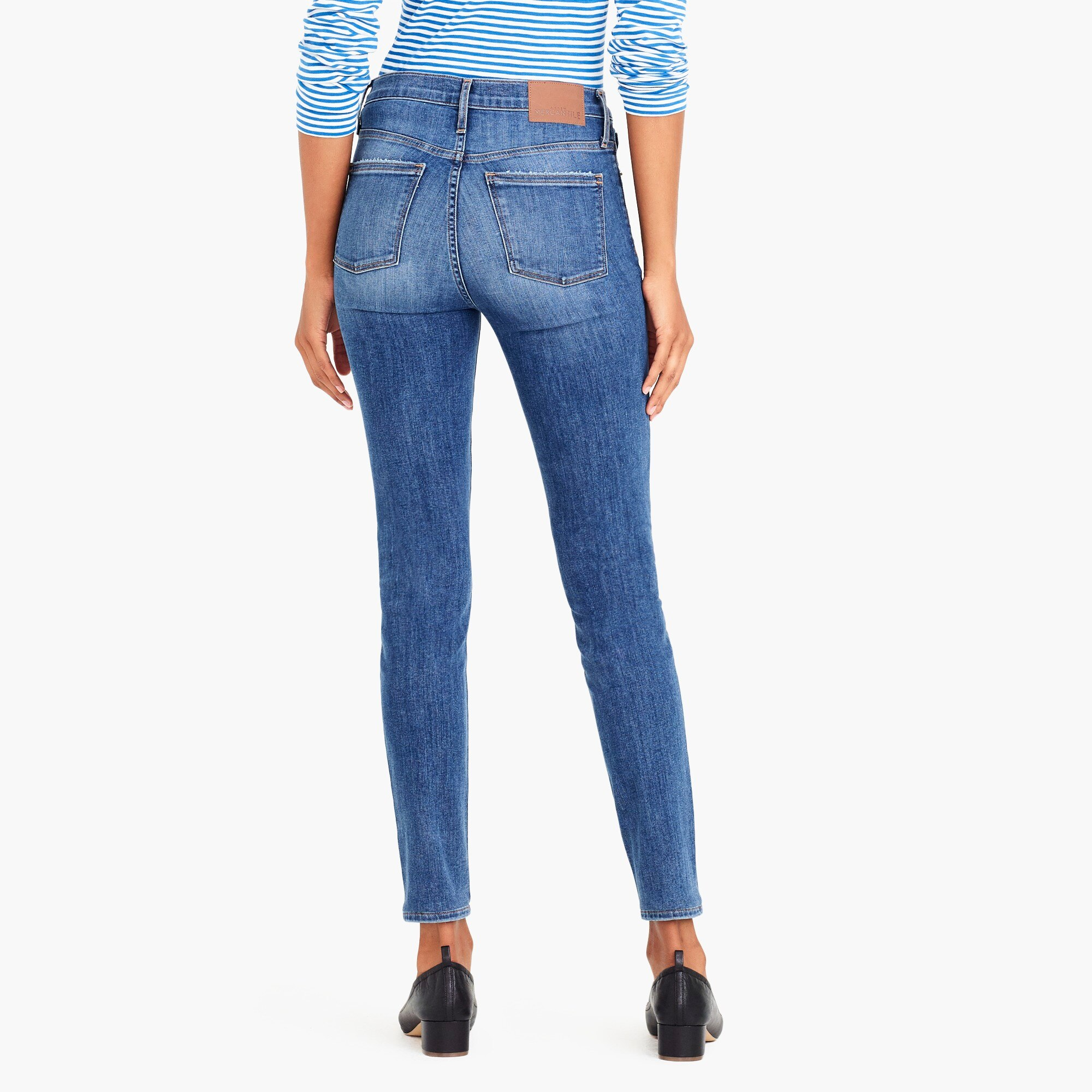 "10"" high-rise skinny jean with distressed details"