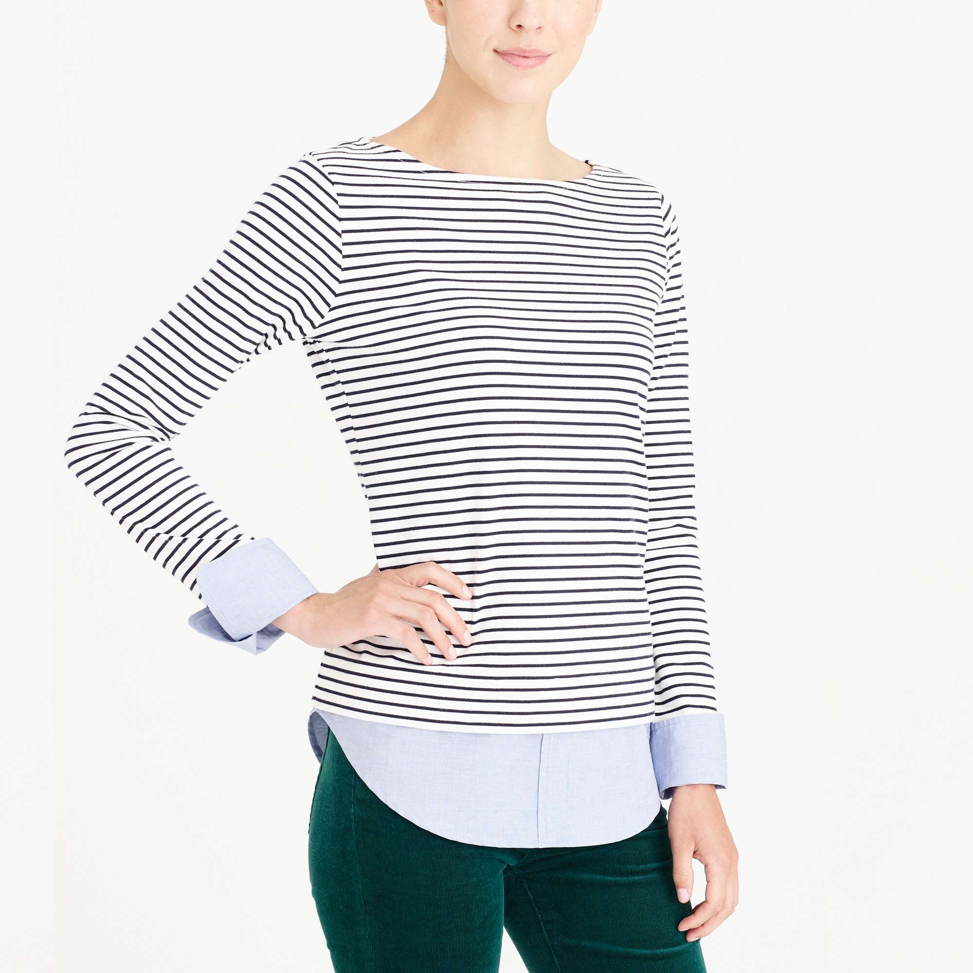 factory womens Cuffed striped boatneck shirt with woven hem