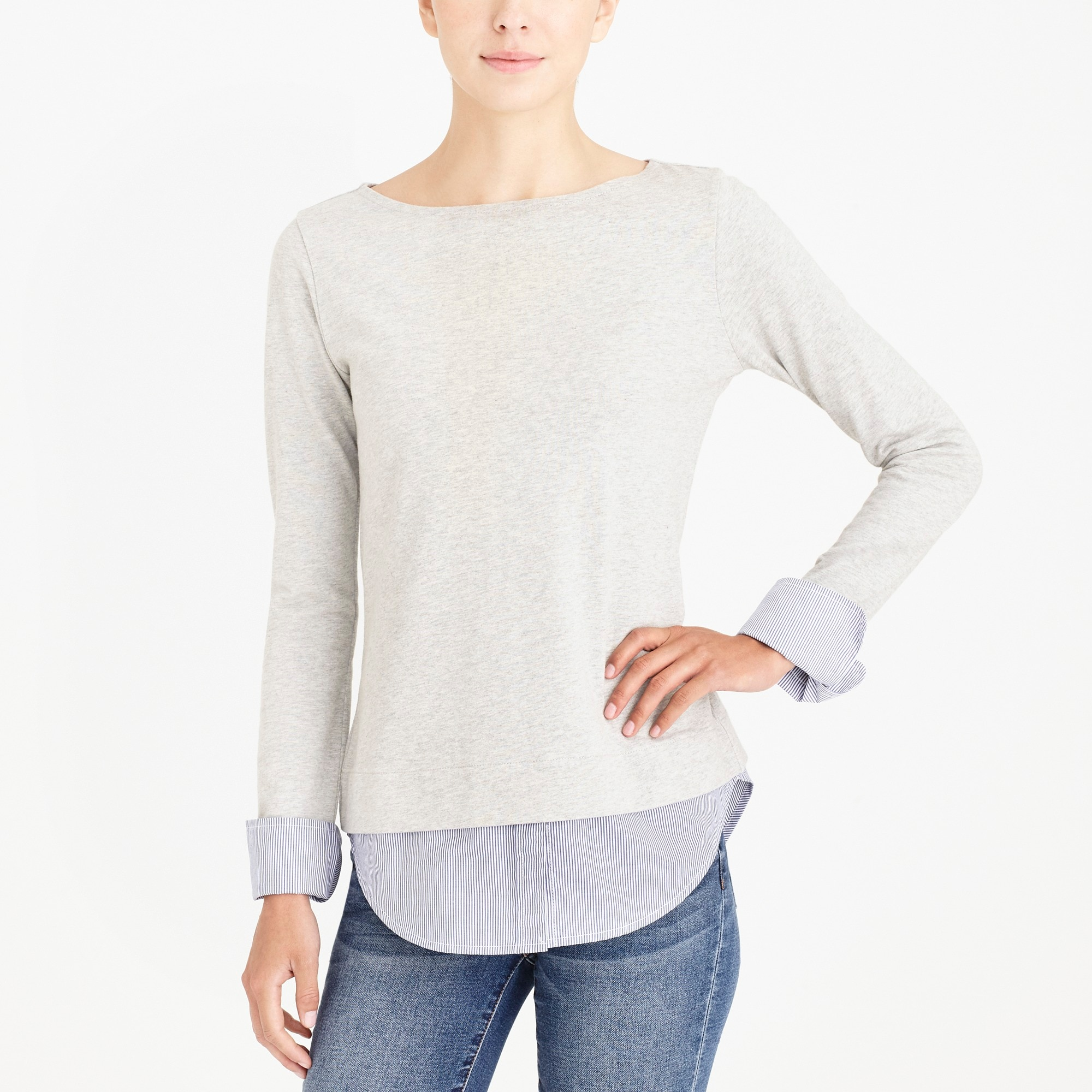 factory womens Cuffed boatneck shirt with woven hem