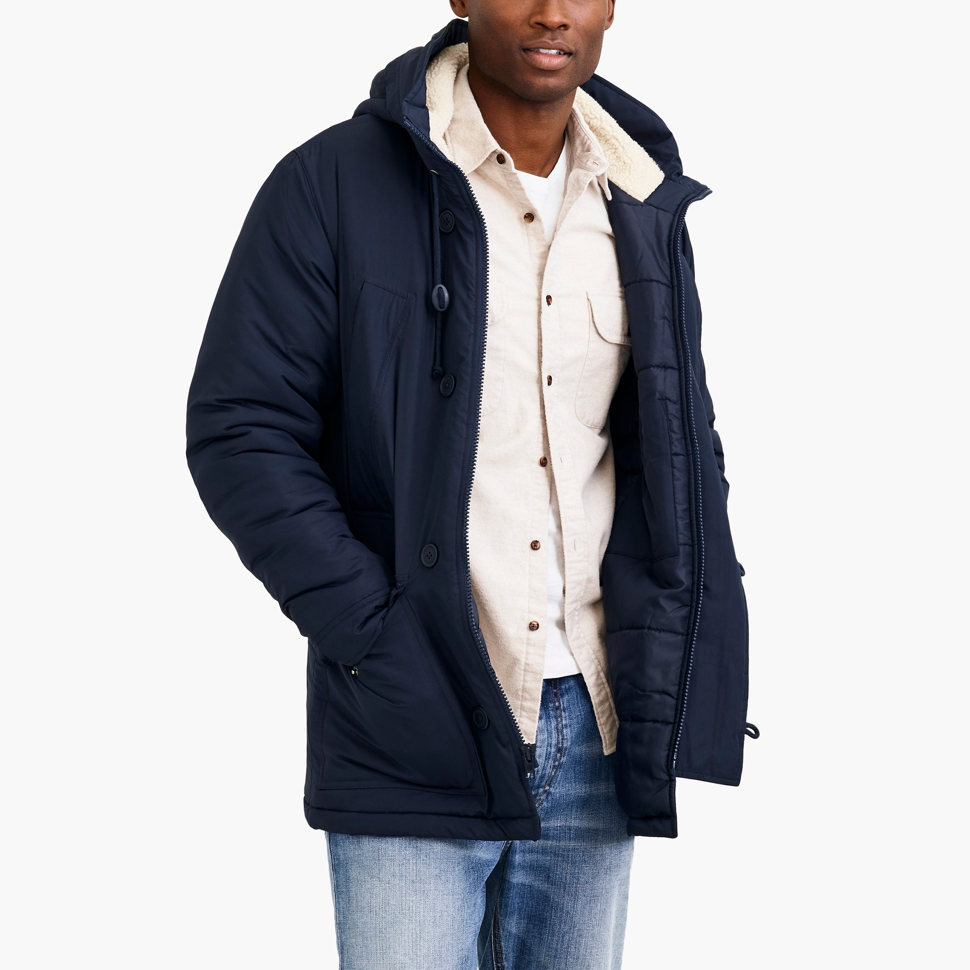 Sherpa-hooded parka