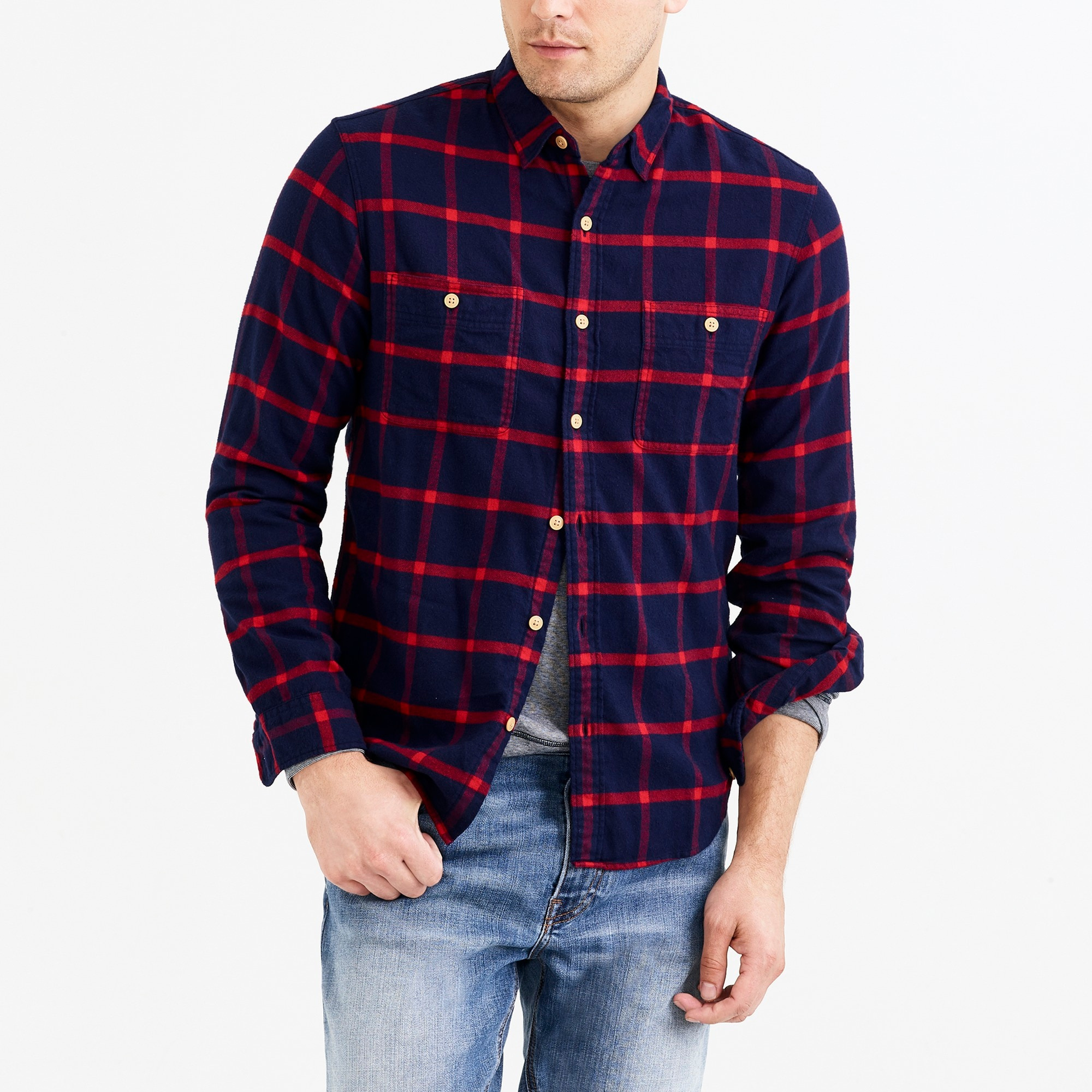 factory mens Slim flannel shirt in tattersall