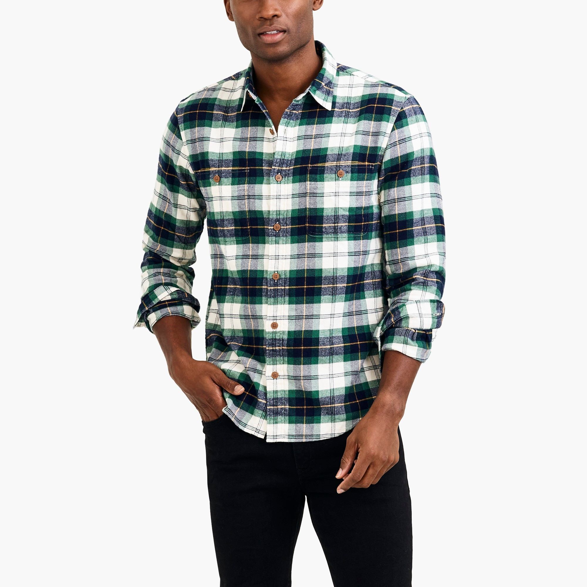 factory mens Flannel shirt in tartan