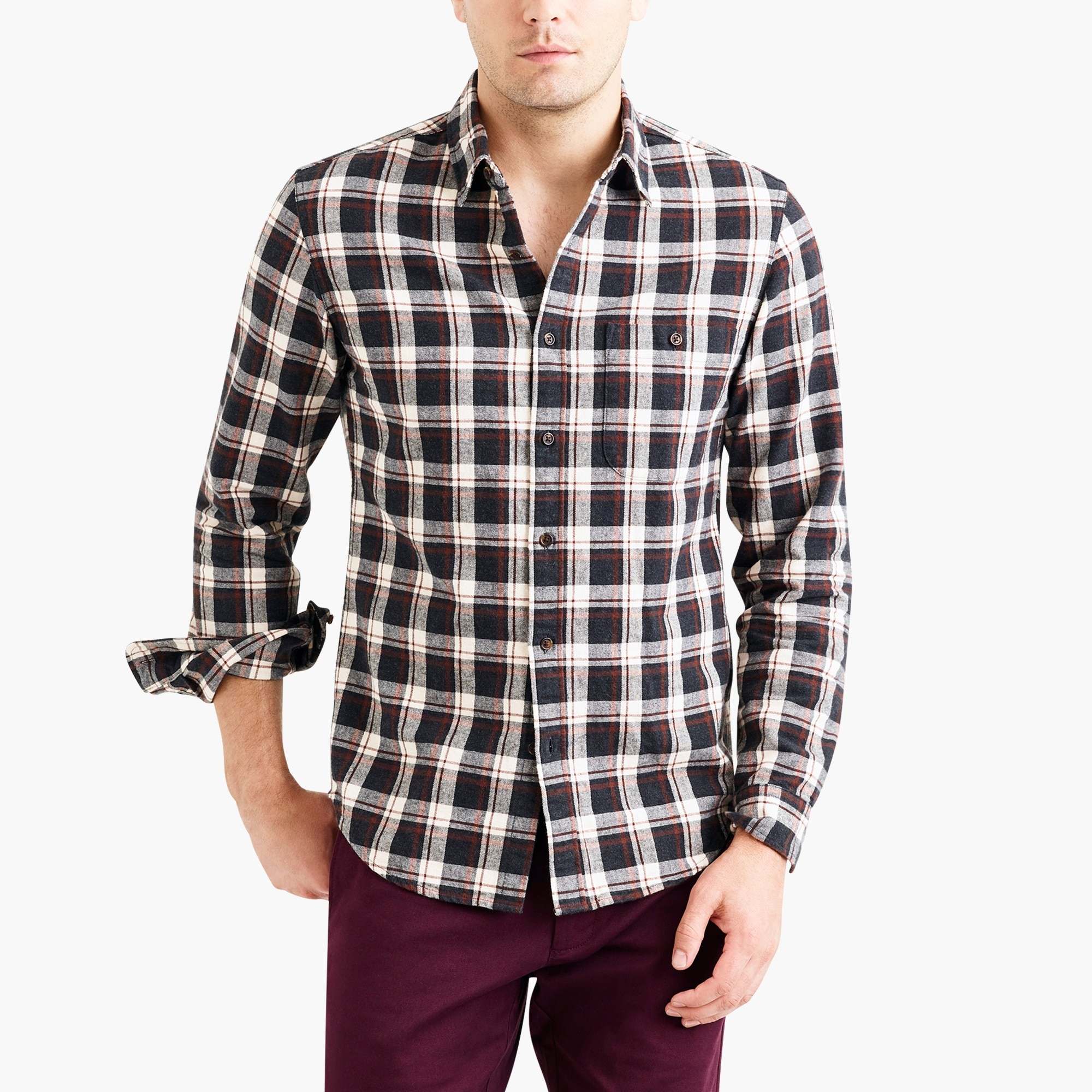 factory mens Rugged elbow-patch shirt in gray plaid
