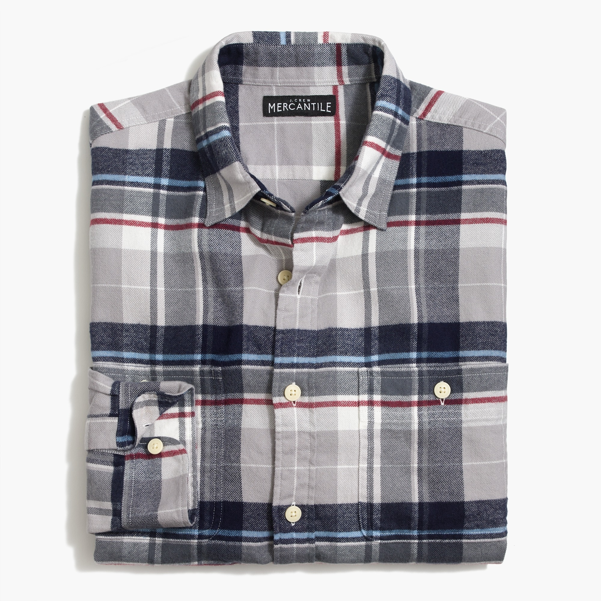 factory mens Slim-fit flannel shirt in plaid