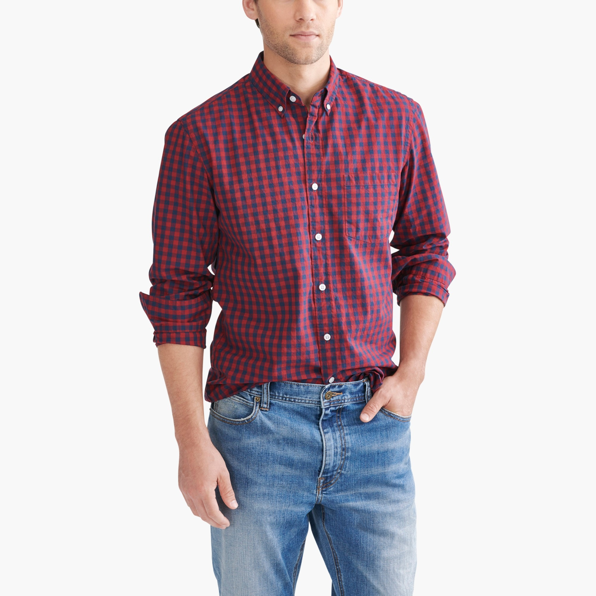 Image 1 for Classic flex washed shirt in gingham
