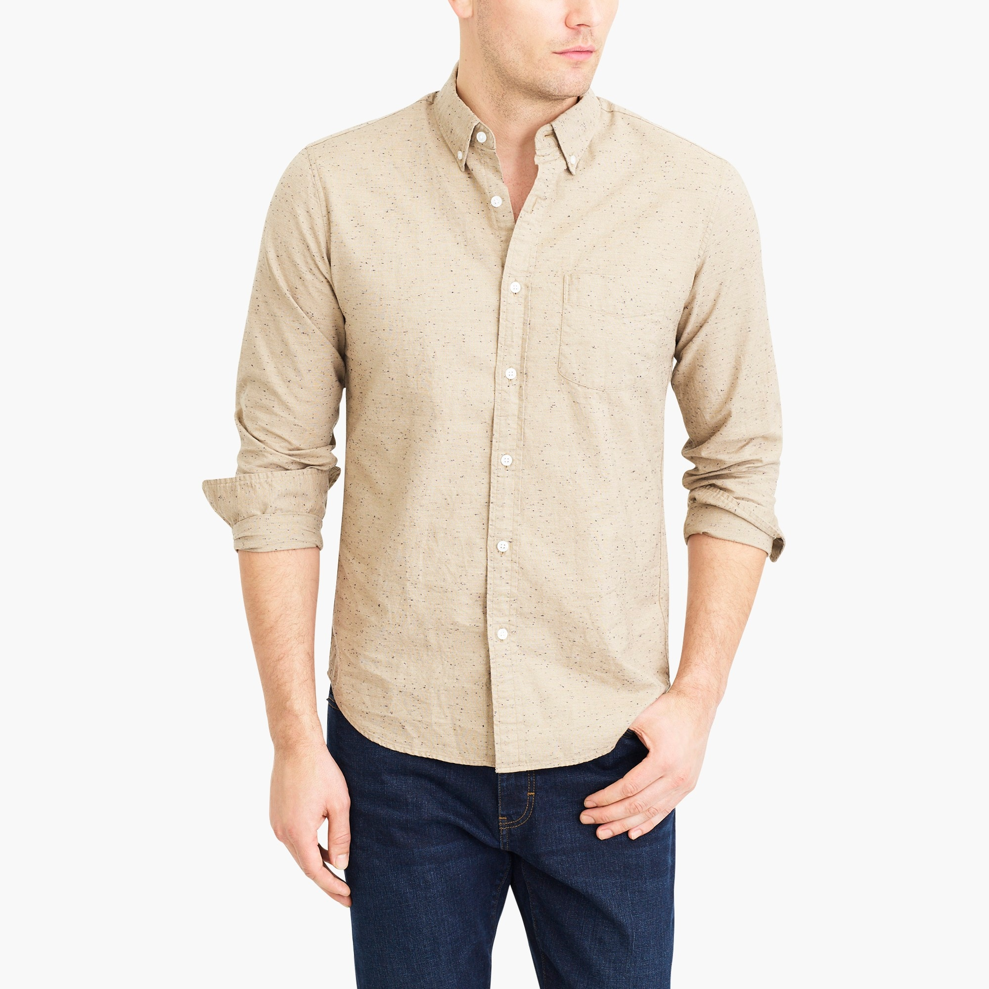 factory mens Slim marled-cotton shirt