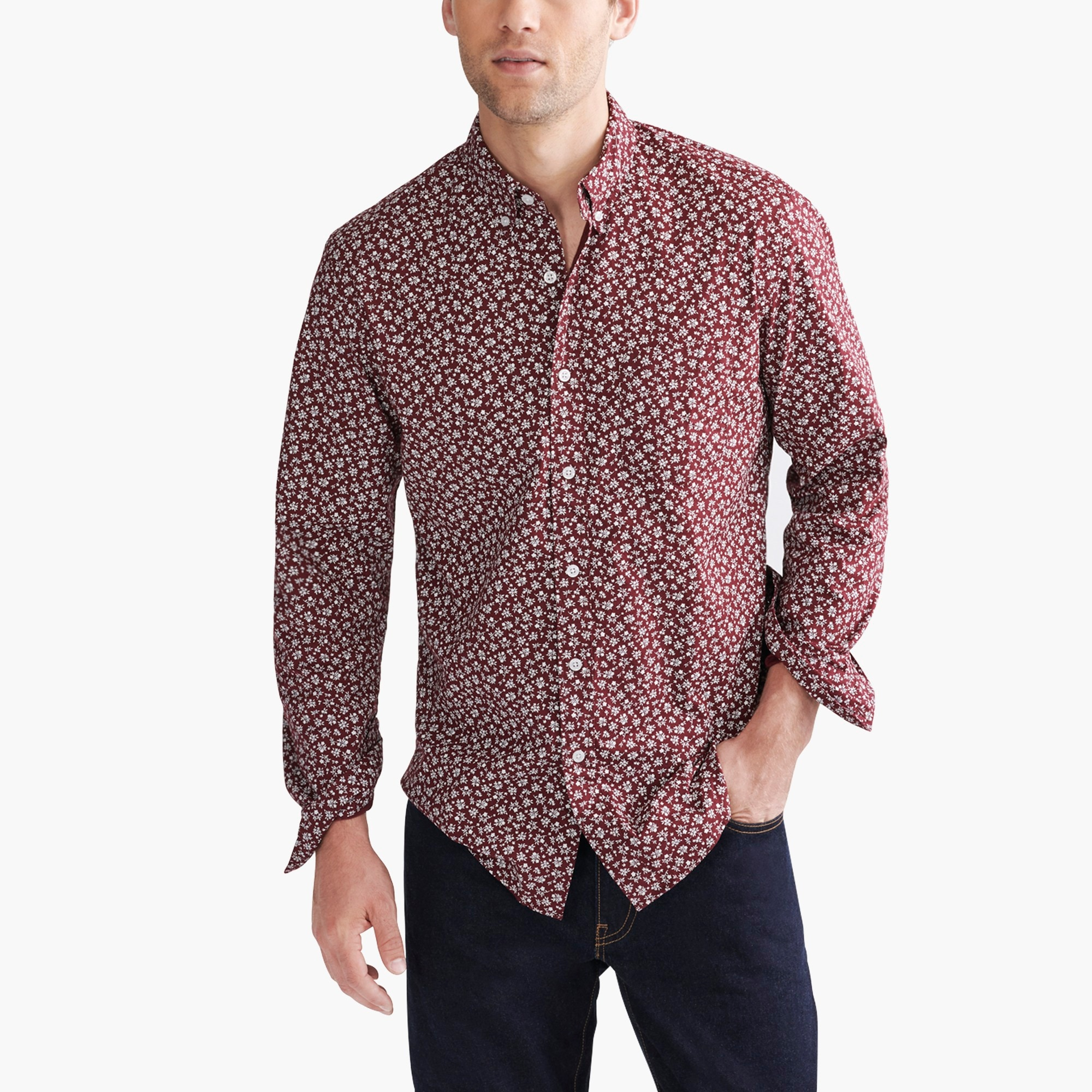 classic flex washed shirt in print : factorymen flex authentic washed