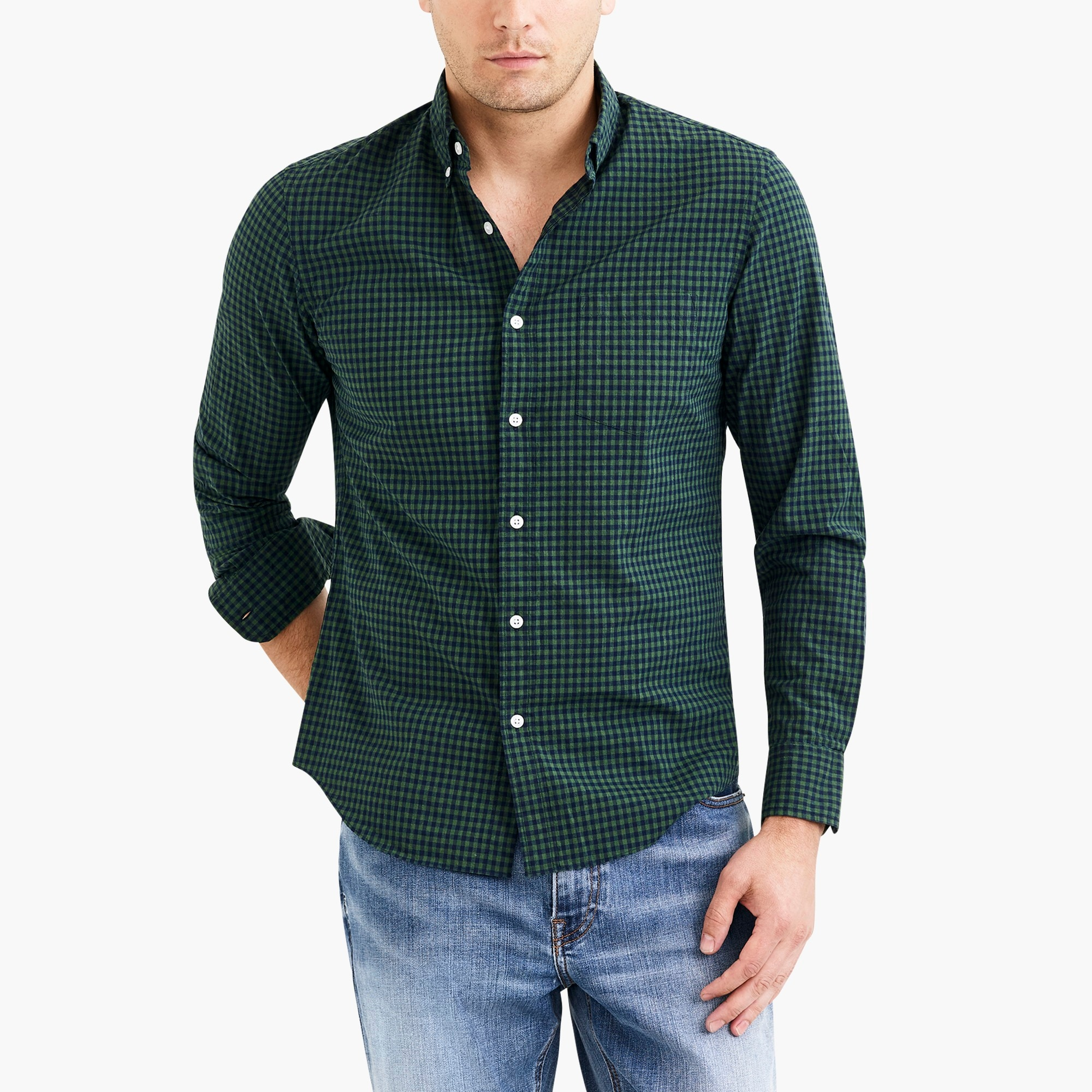 factory mens Classic flex heather washed shirt in gingham