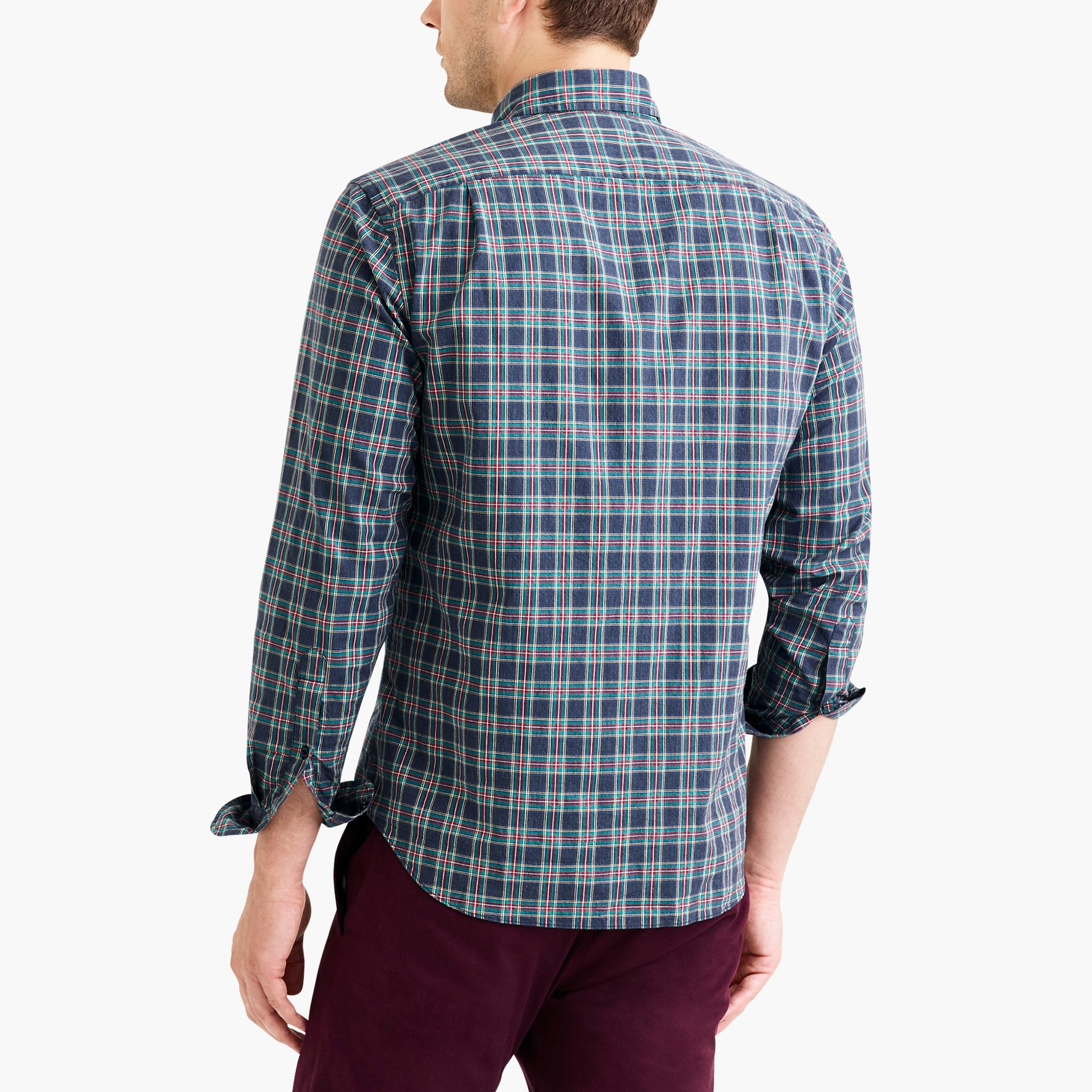 Classic flex heather washed shirt in tartan