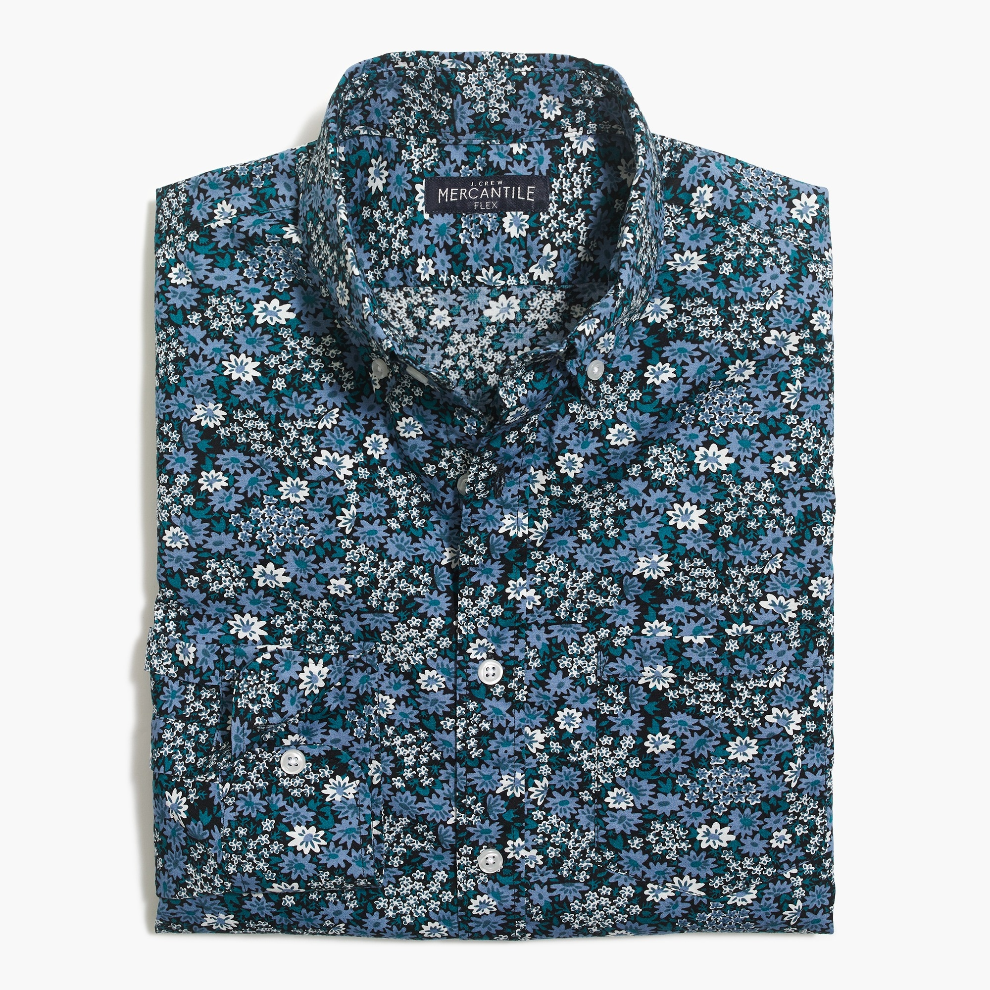 factory mens Slim flex washed shirt in print
