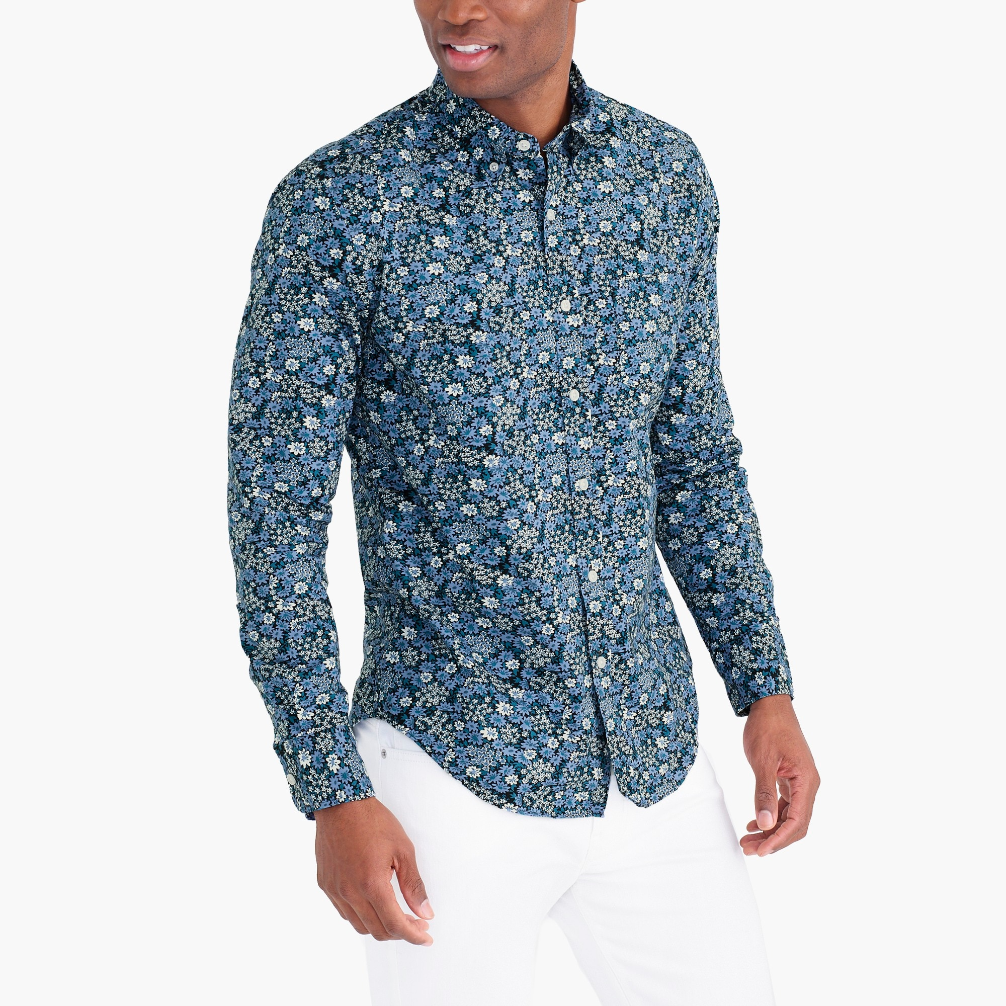 factory mens Tall flex washed shirt in floral
