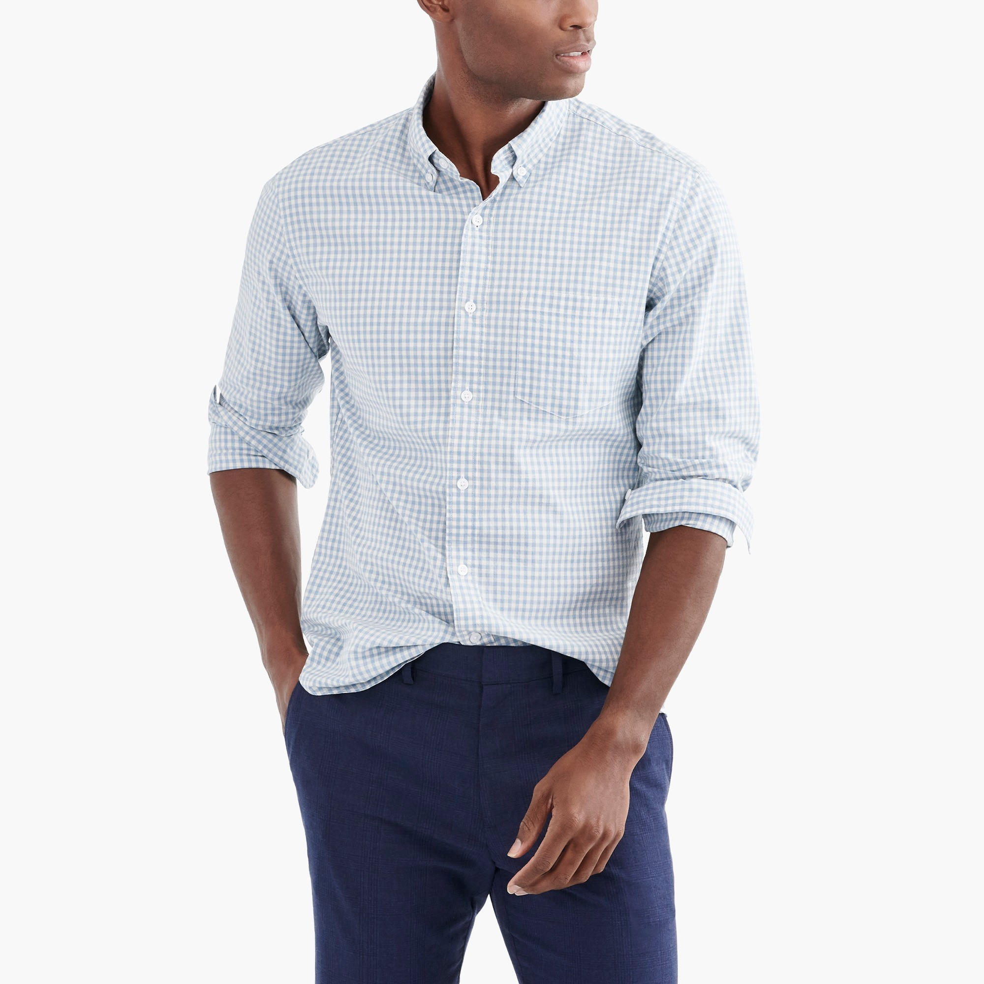 factory mens Tall flex heather washed shirt in gingham