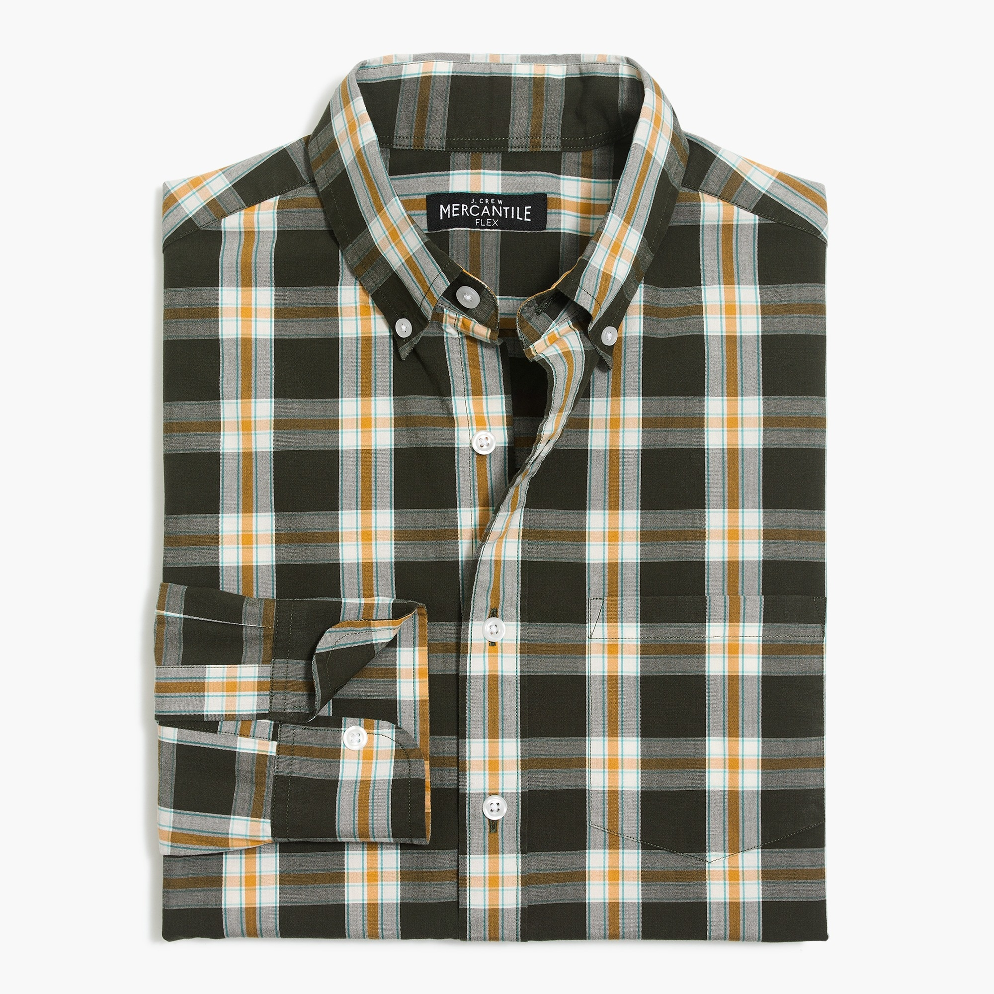 Slim flex washed shirt in plaid