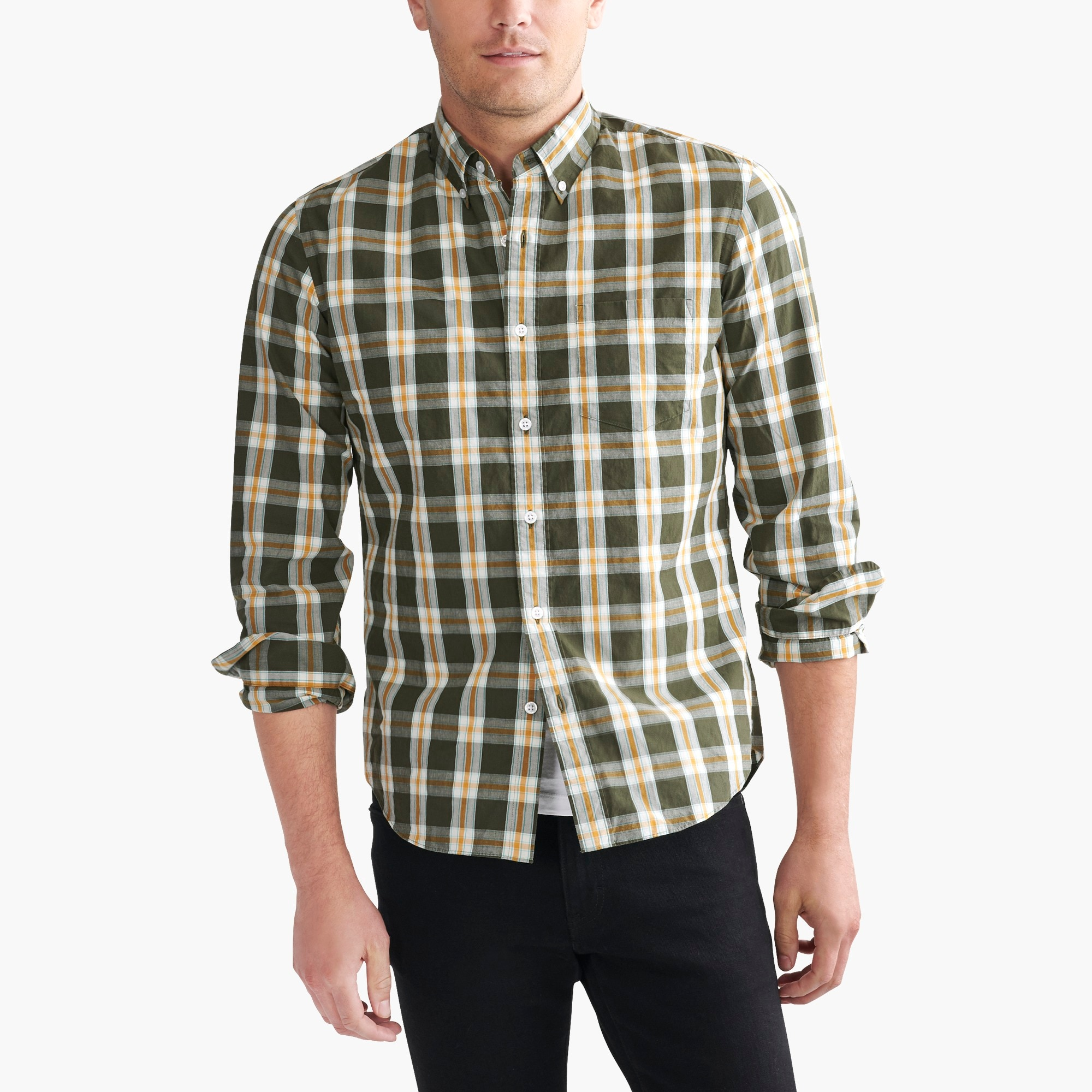 slim flex washed shirt in plaid : factorymen slim flex authentic washed
