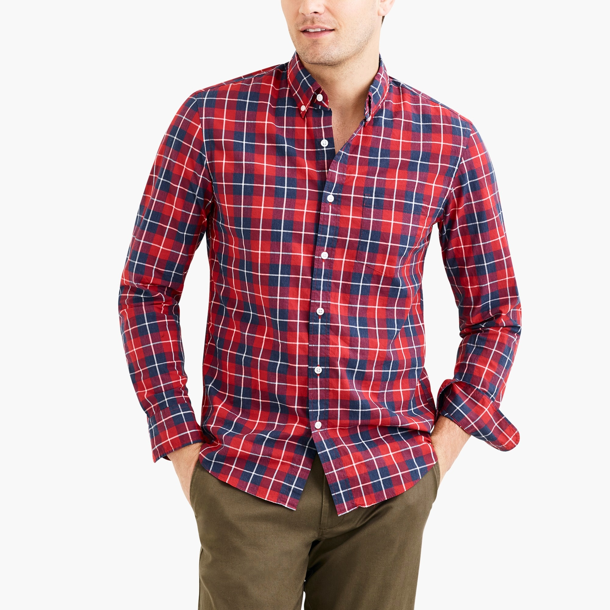 factory mens Slim flex heather washed shirt in plaid