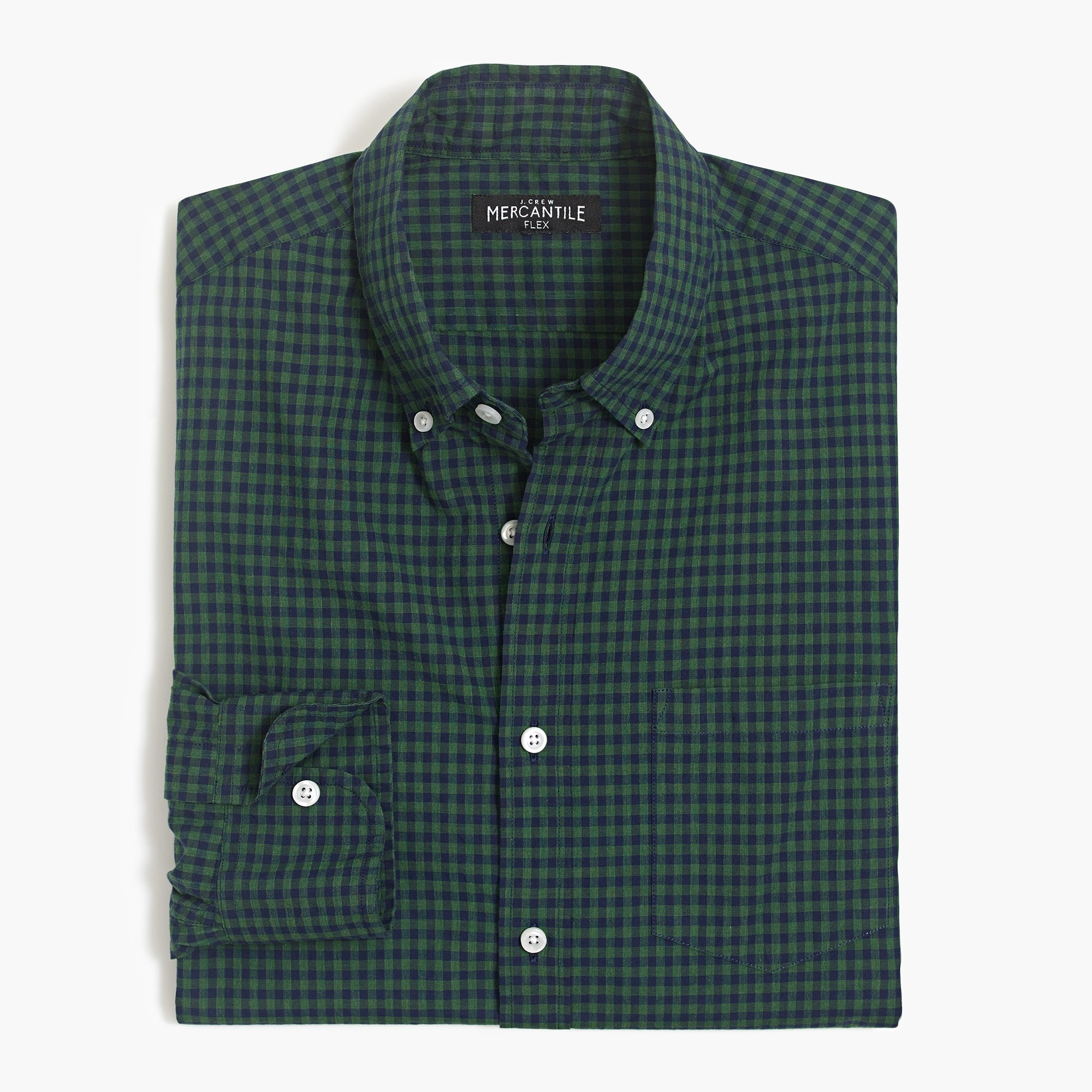 factory mens Slim flex heather washed shirt in gingham