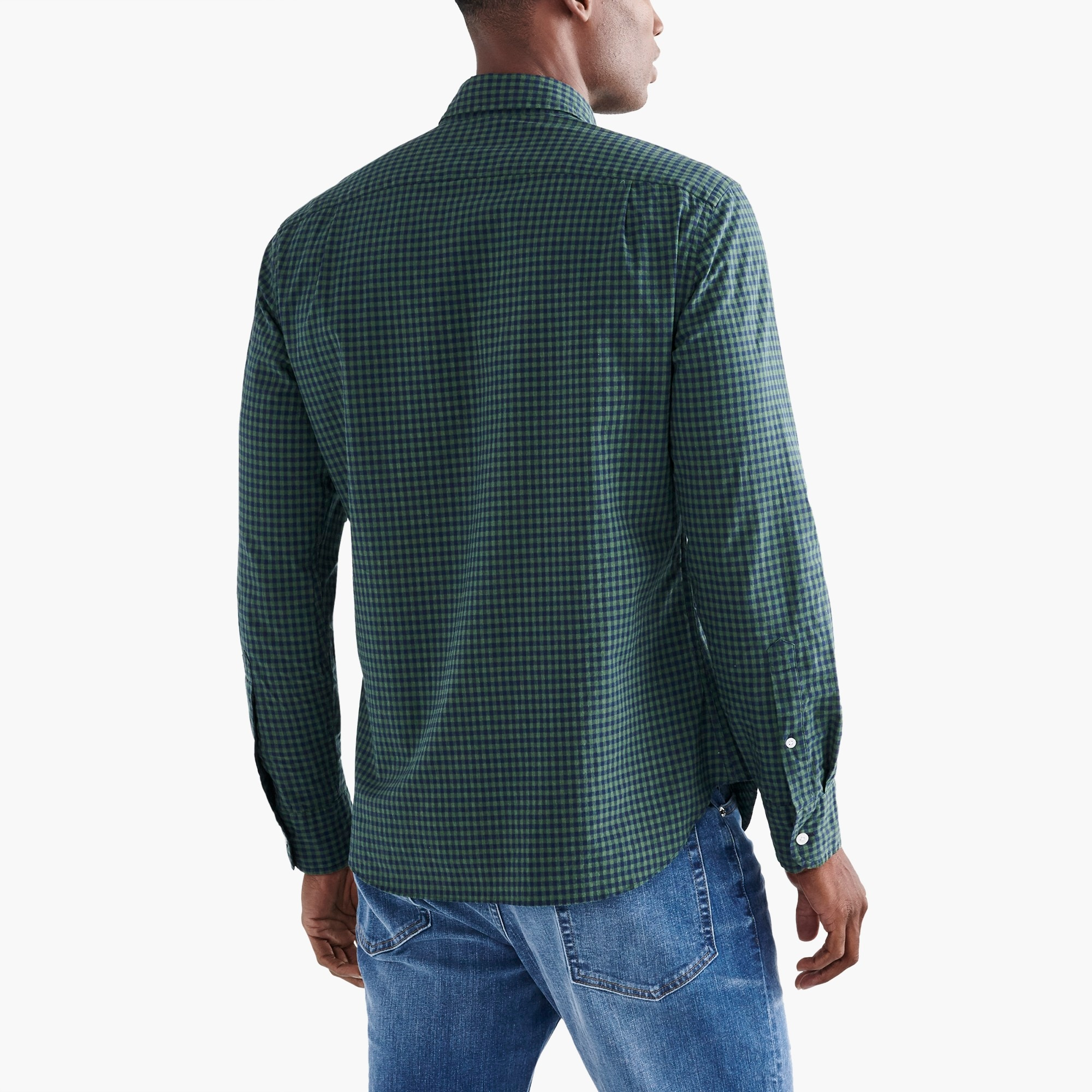 Slim flex heather washed shirt in gingham