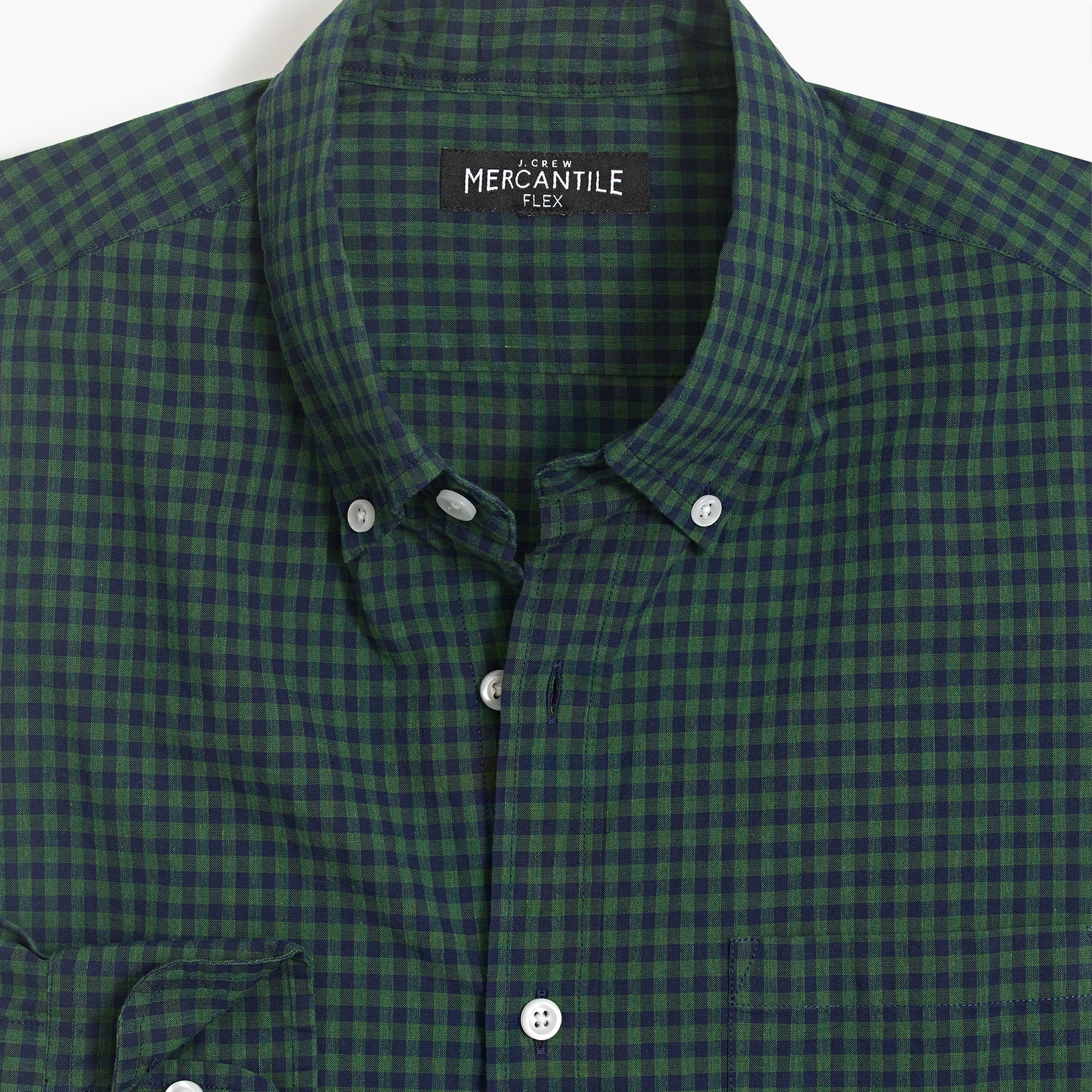 Image 3 for Slim flex heather washed shirt in gingham