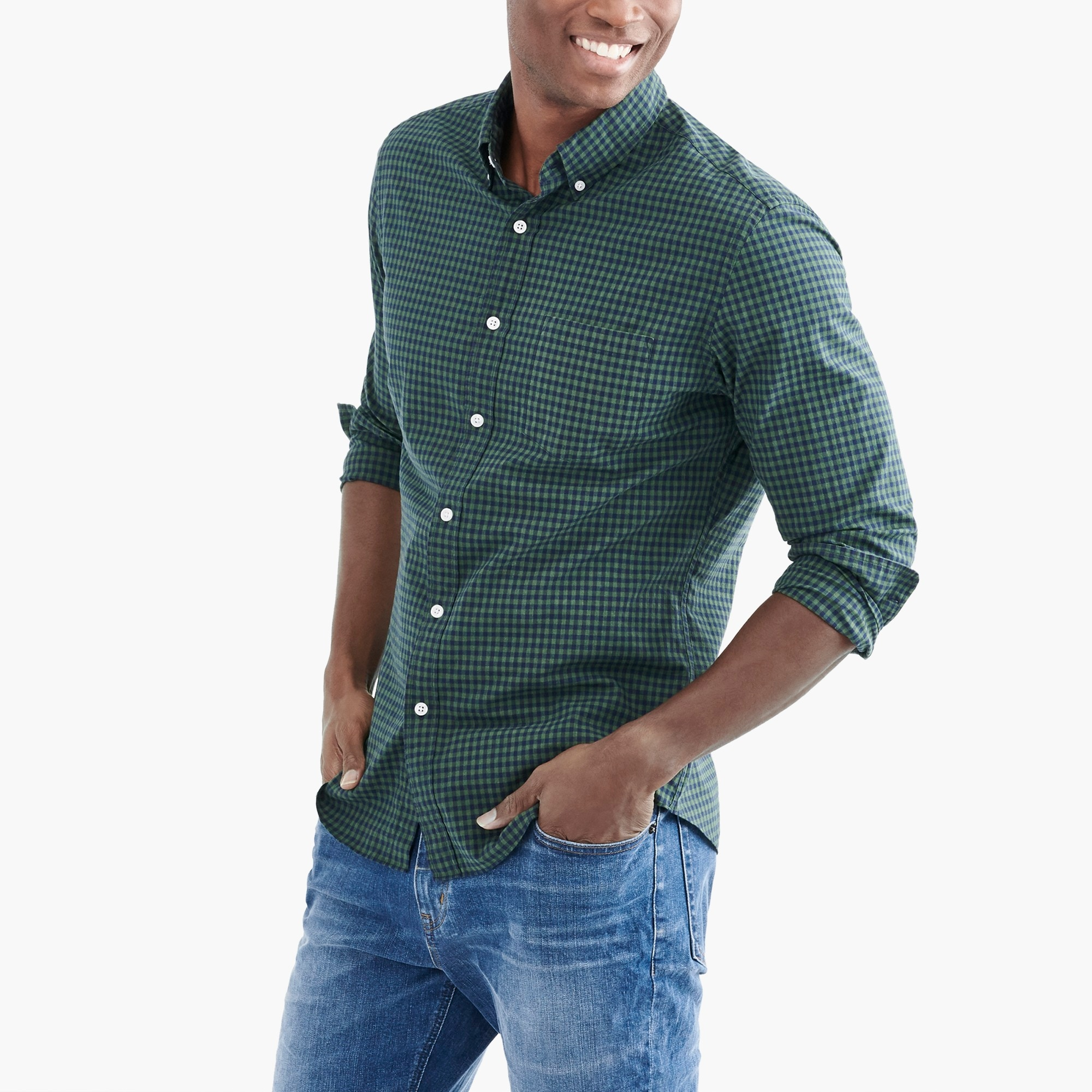 slim flex heather washed shirt in gingham : factorymen flex shirts