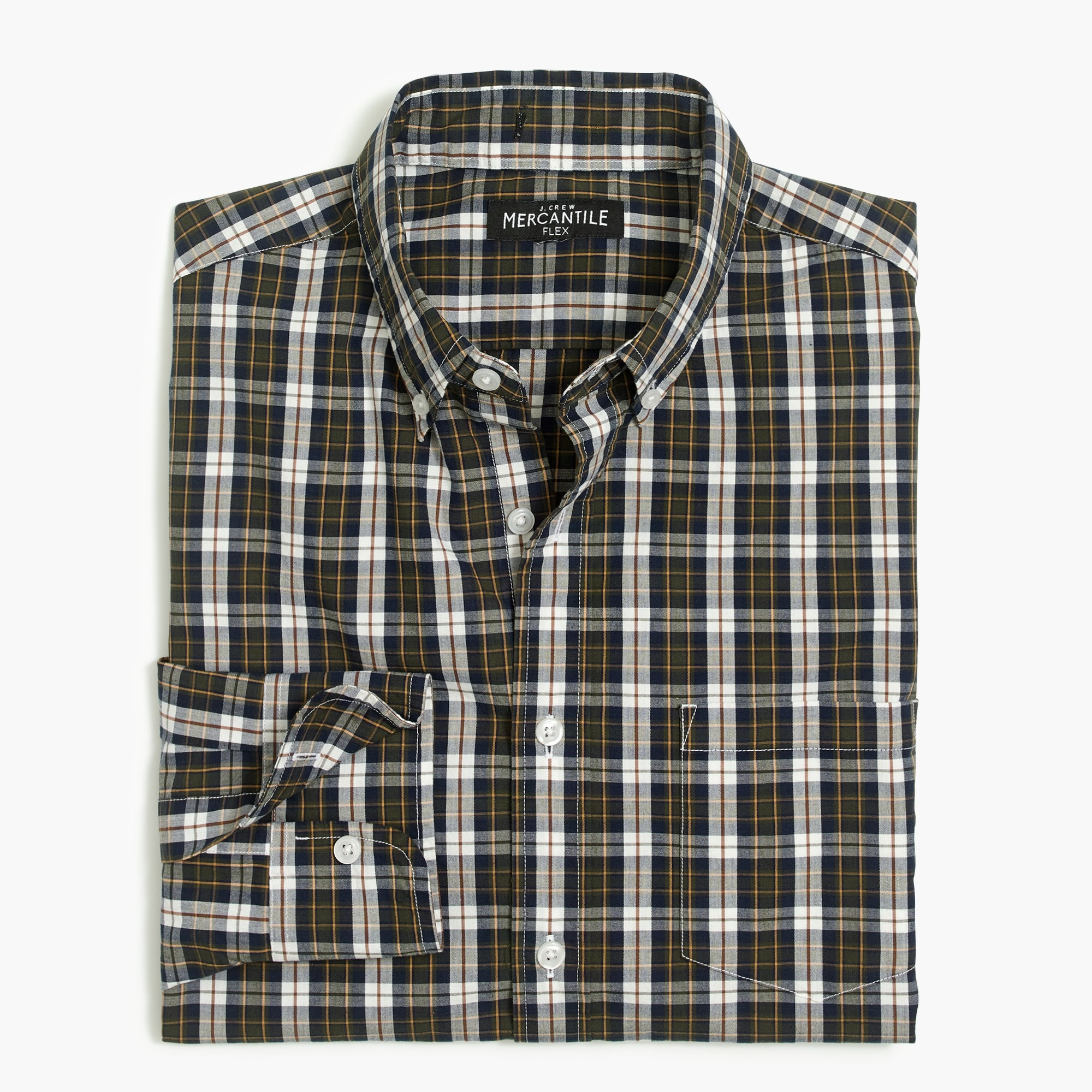 factory mens Slim flex washed shirt in plaid