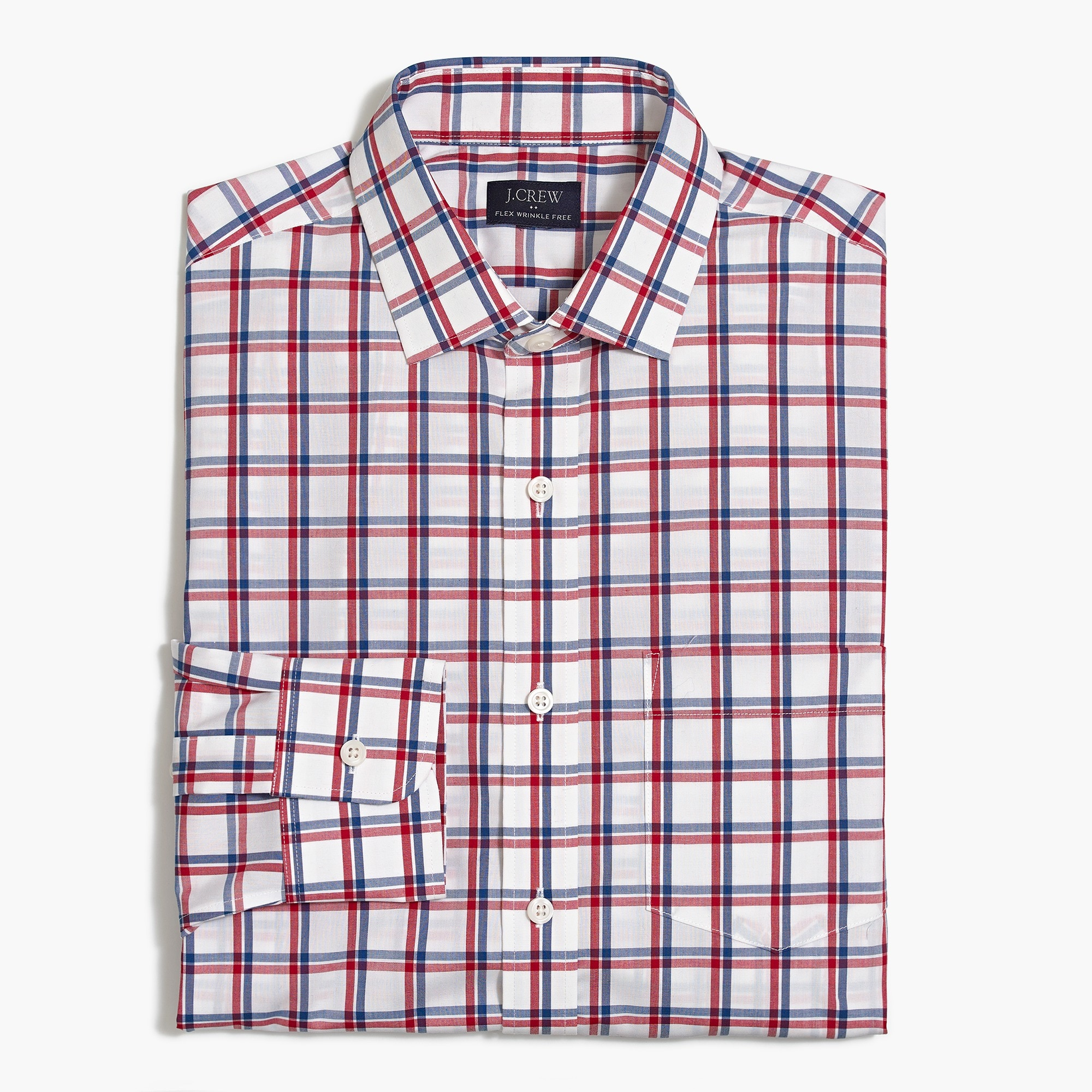 factory mens Thompson classic wrinkle-free dress shirt in tattersall