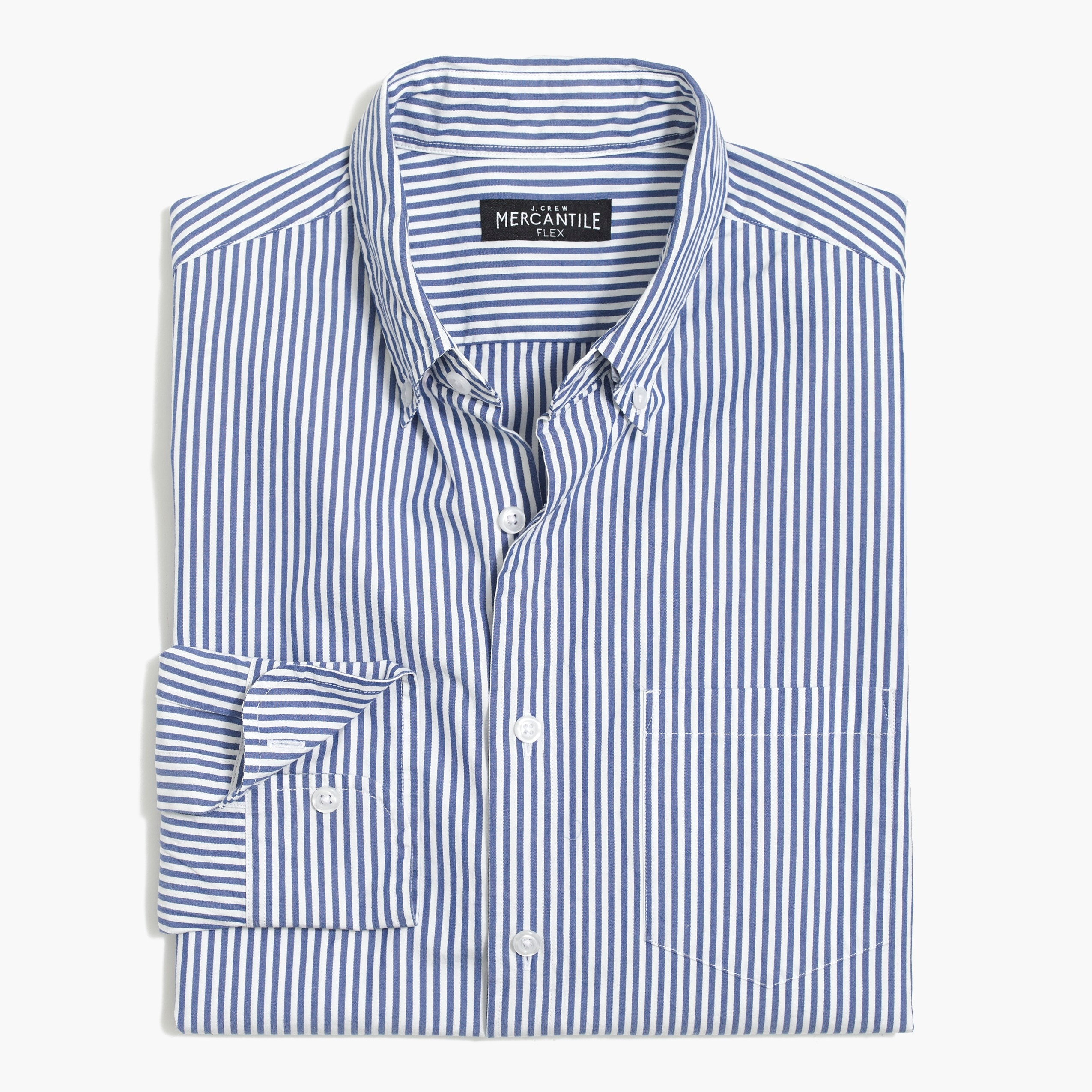 factory mens Slim flex washed shirt in stripe