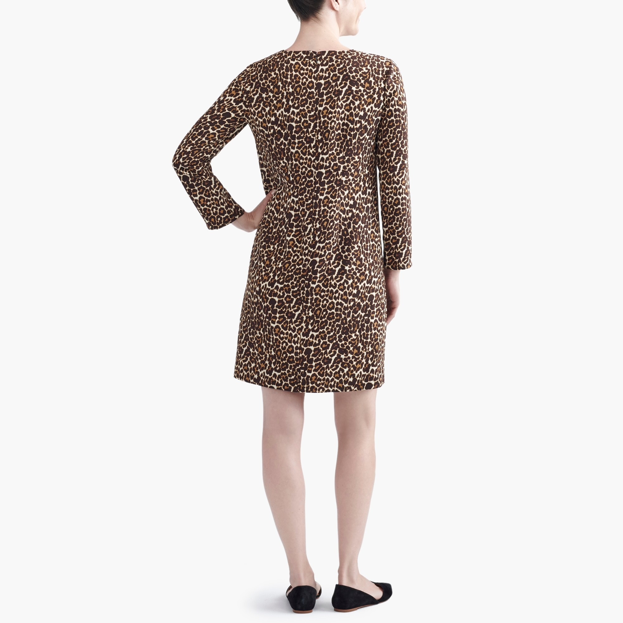 Crepe shift dress in cat print