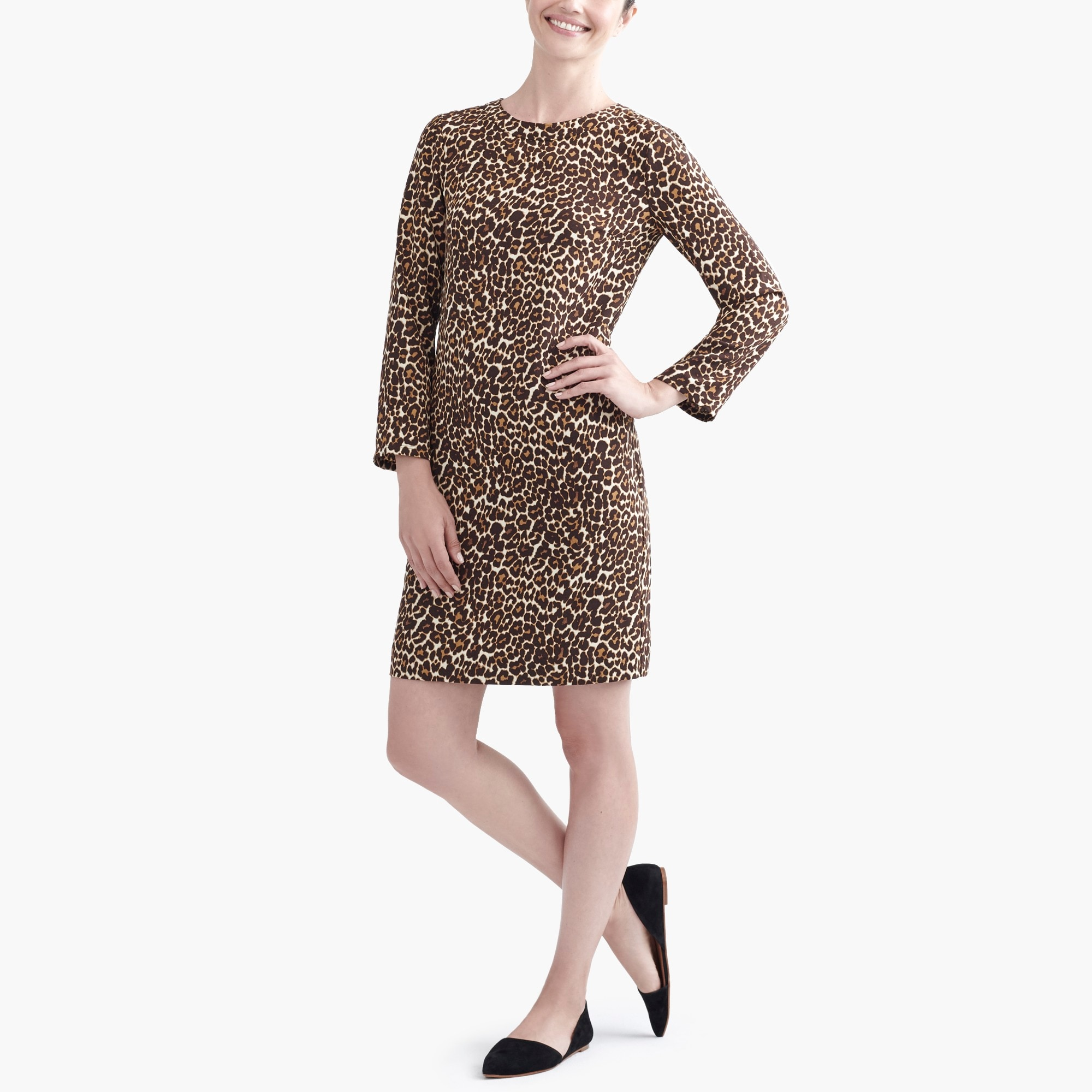 j.crew factory: crepe shift dress in cat print