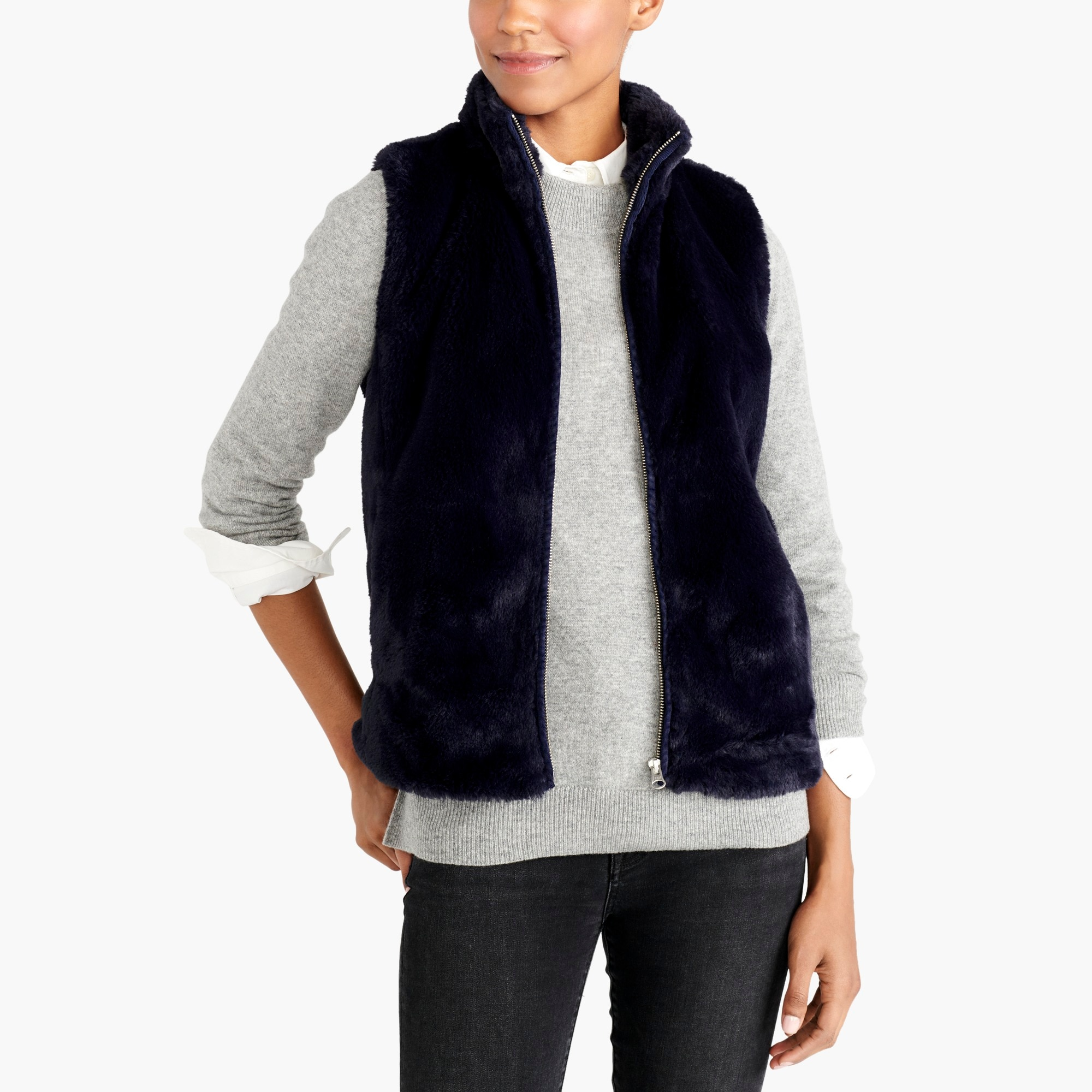 factory womens Faux-fur vest