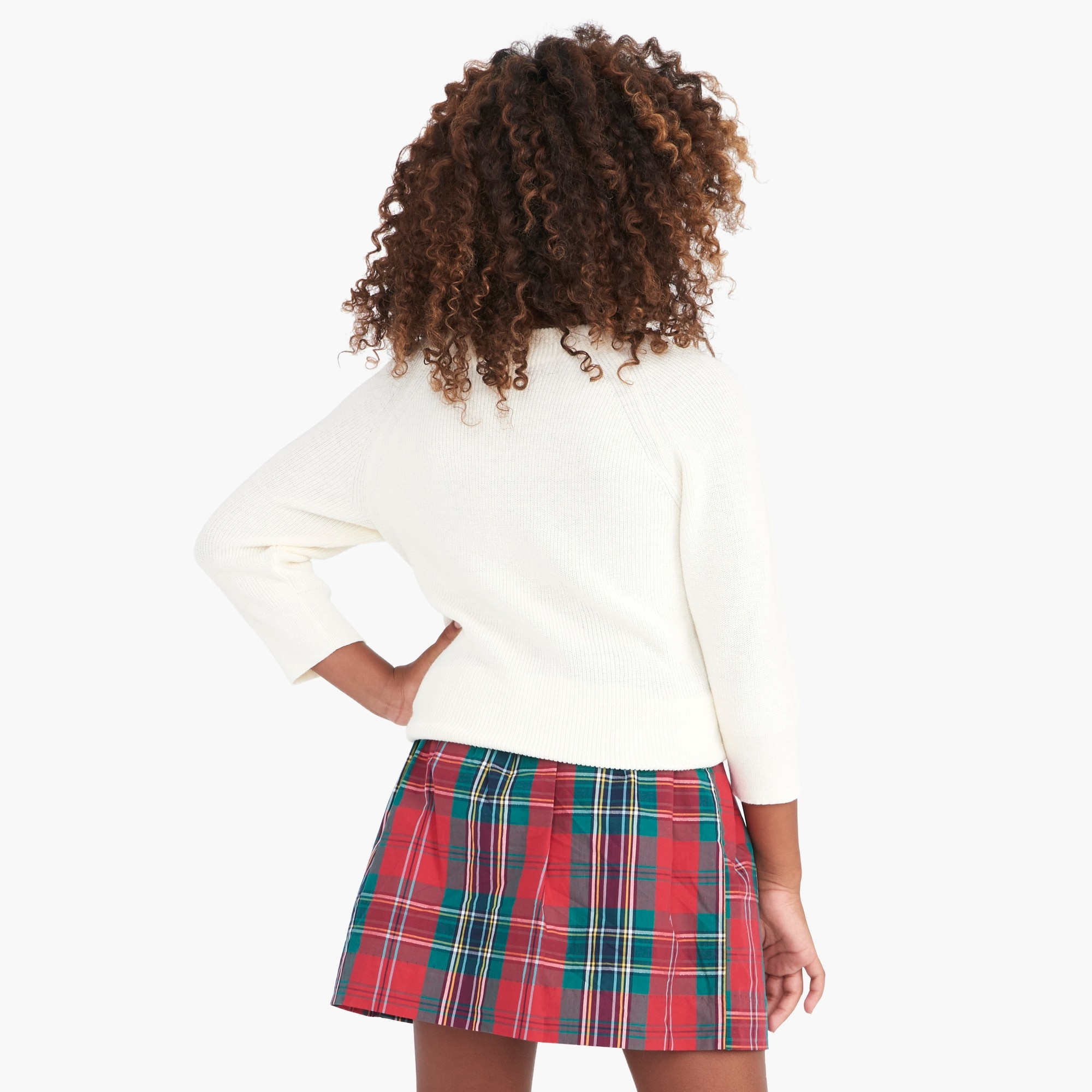 Girls'  bow-neck popover sweater