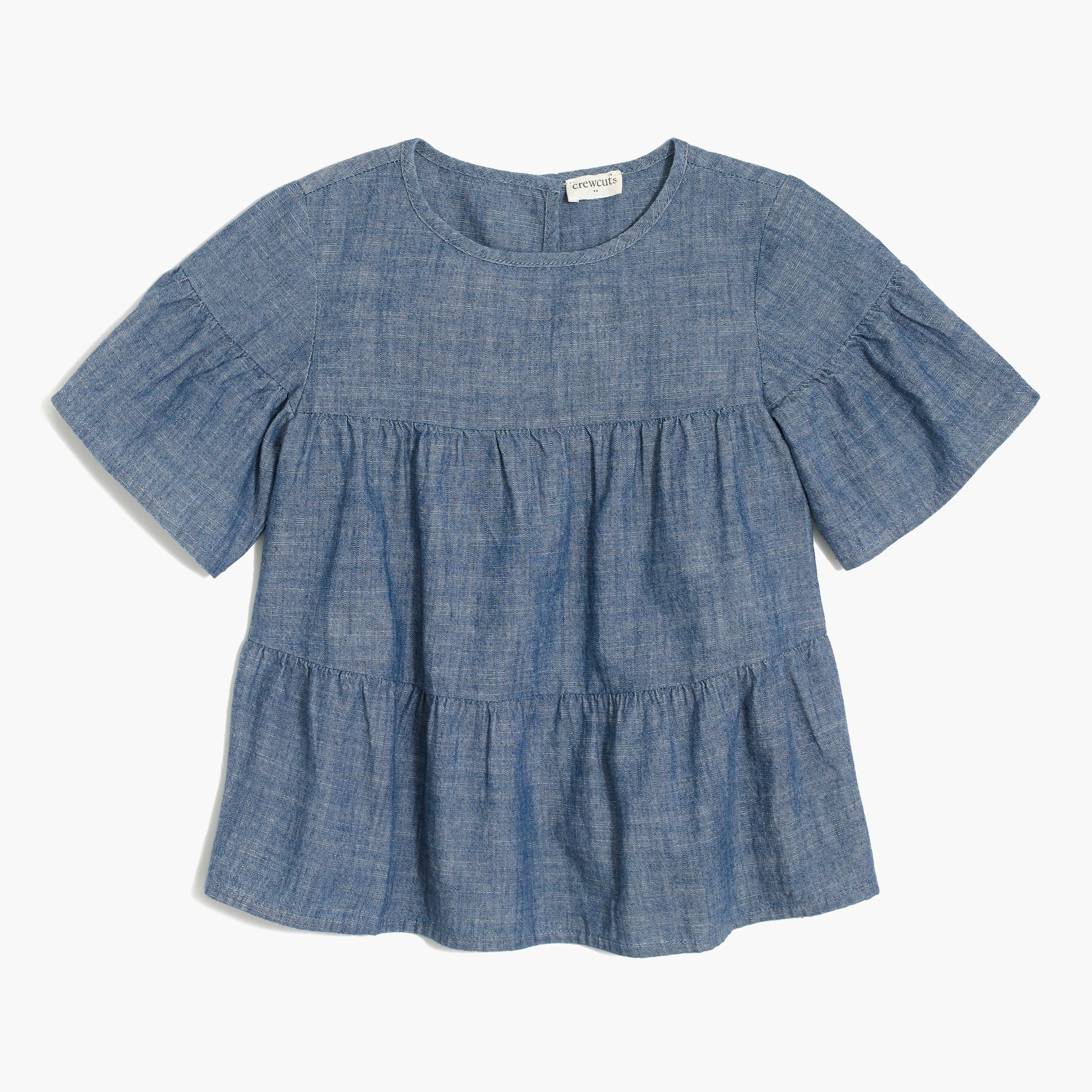 factory girls Girls' short-sleeve tiered chambray top