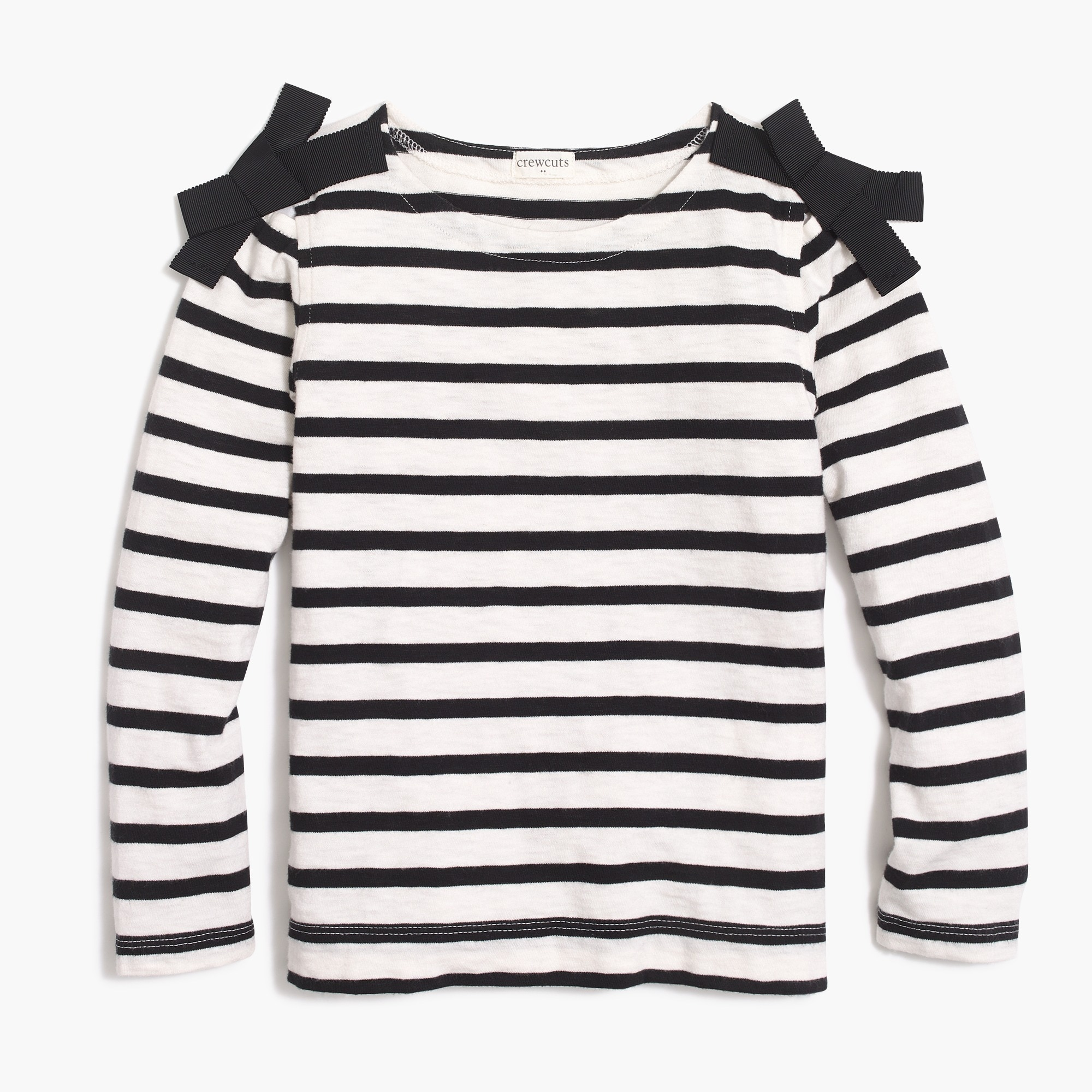 factory girls Girls' long-sleeve bow-shoulder striped T-shirt