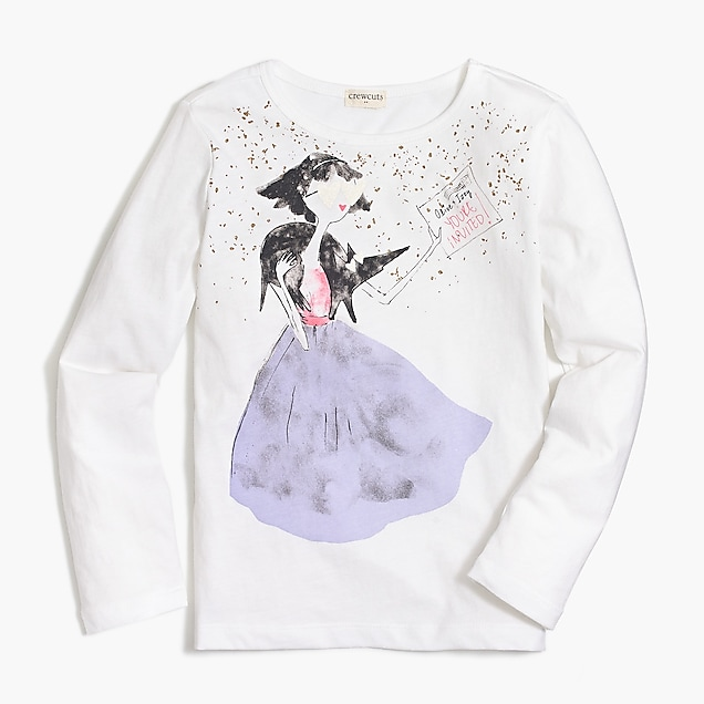 j.crew factory: girls' long-sleeve olive party graphic t-shirt