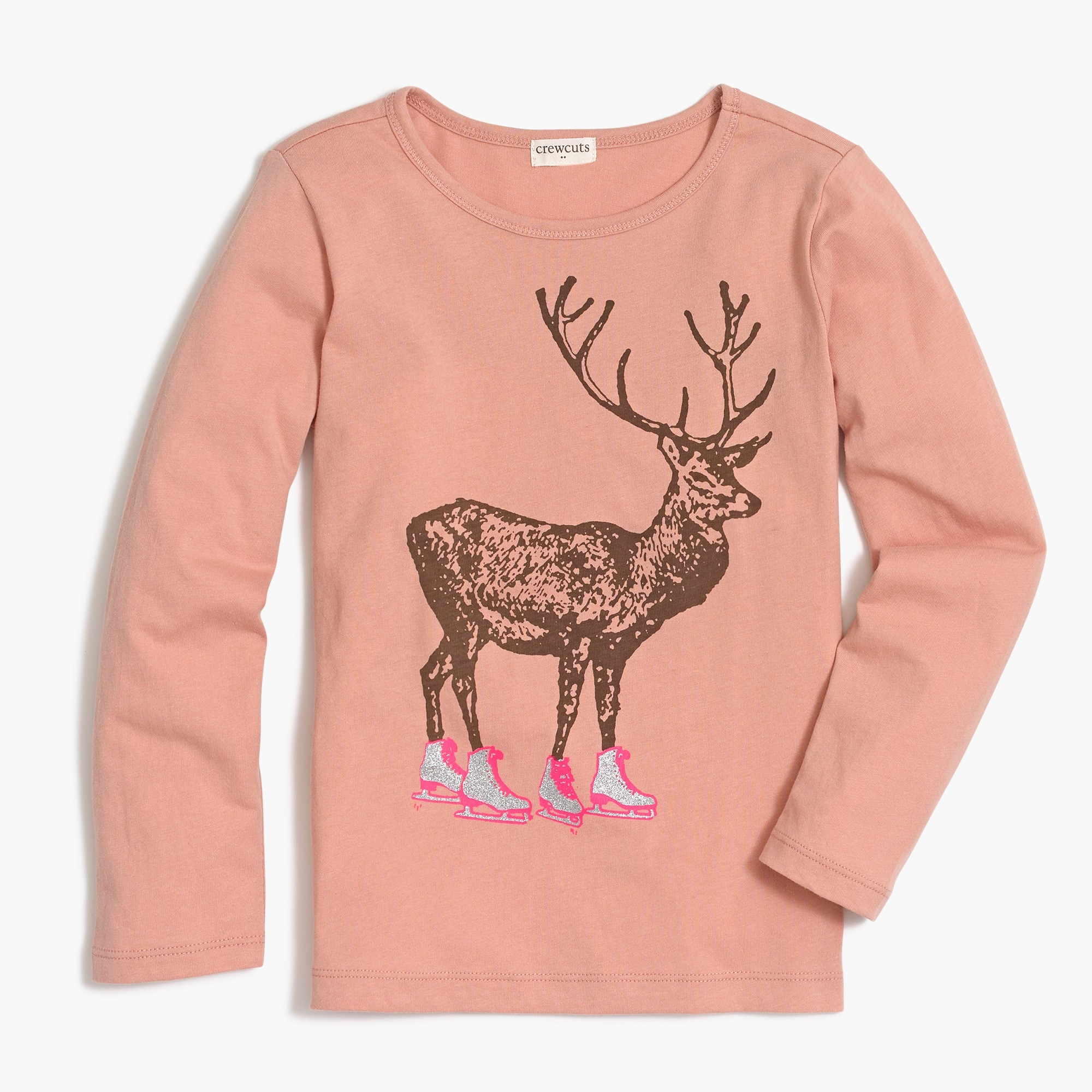 Image 1 for Girls' long-sleeve ice-skating deer graphic T-shirt