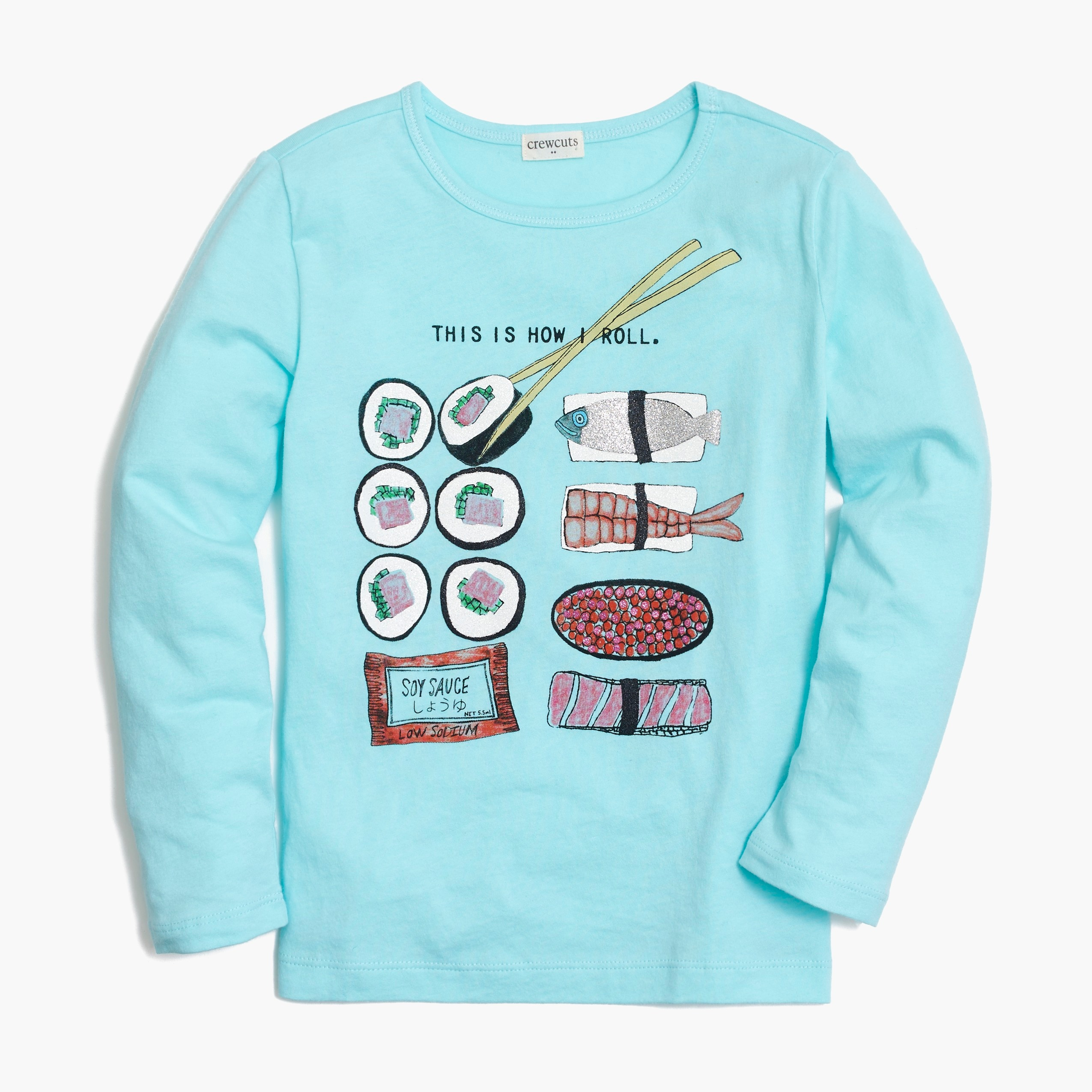 Girls' long-sleeve sushi graphic T-shirt
