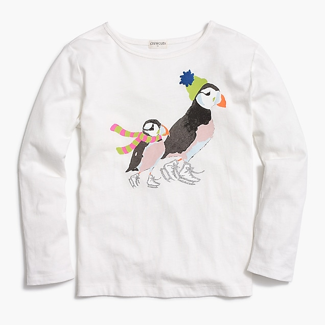 j.crew factory: girls' long-sleeve ice skating puffins t-shirt