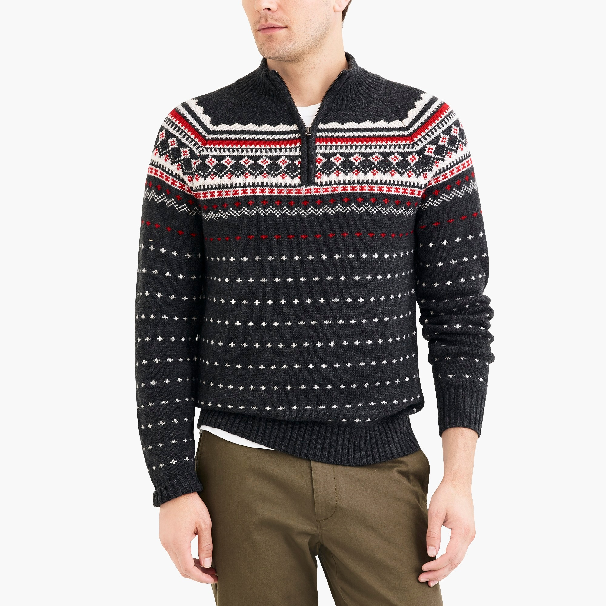 factory mens Fair Isle half-zip sweater in supersoft wool blend