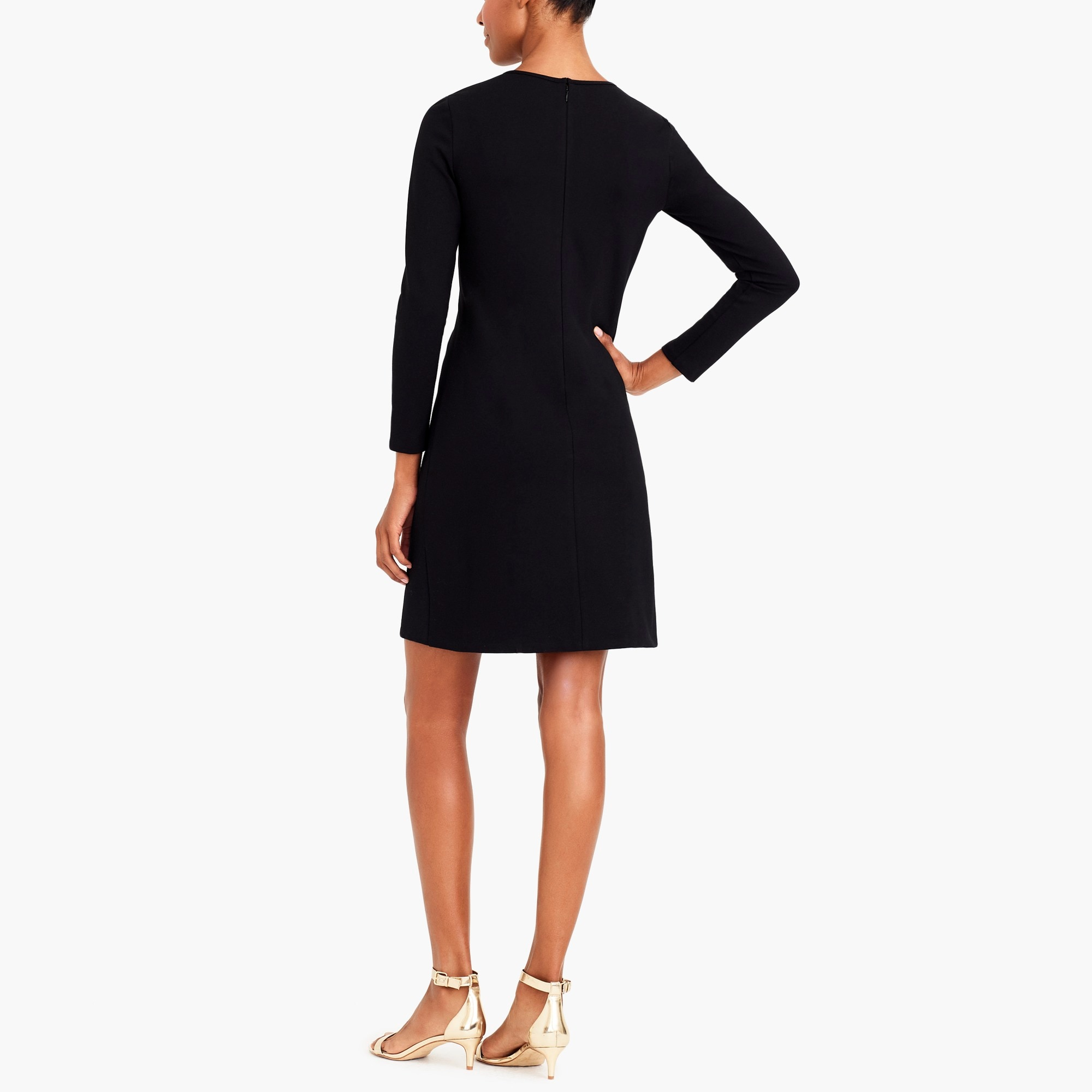 Image 3 for Long-sleeve stretch ponte dress