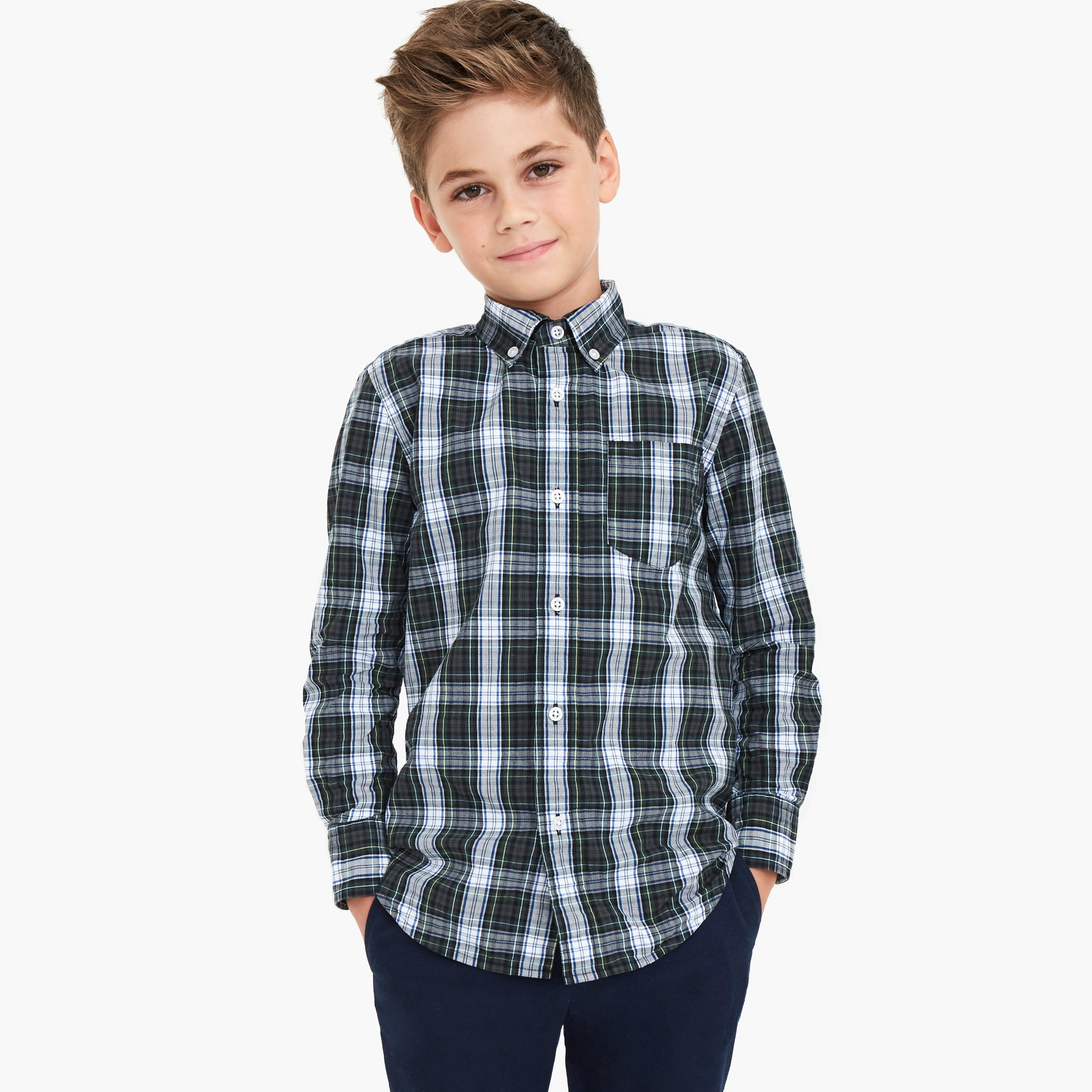 factory boys Boys' long-sleeve patterned washed shirt